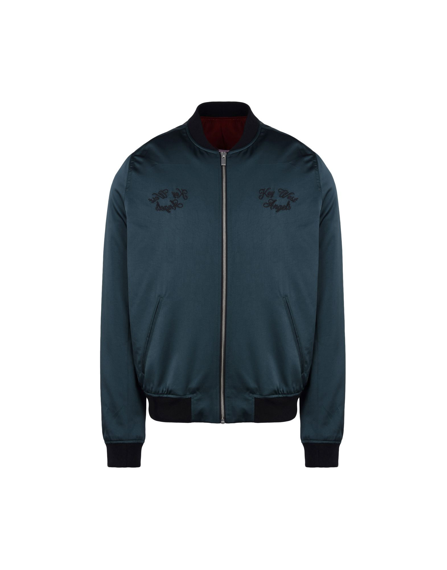 The Kooples Deep Jade Satin Bomber Jacket With Embroidered Detailing