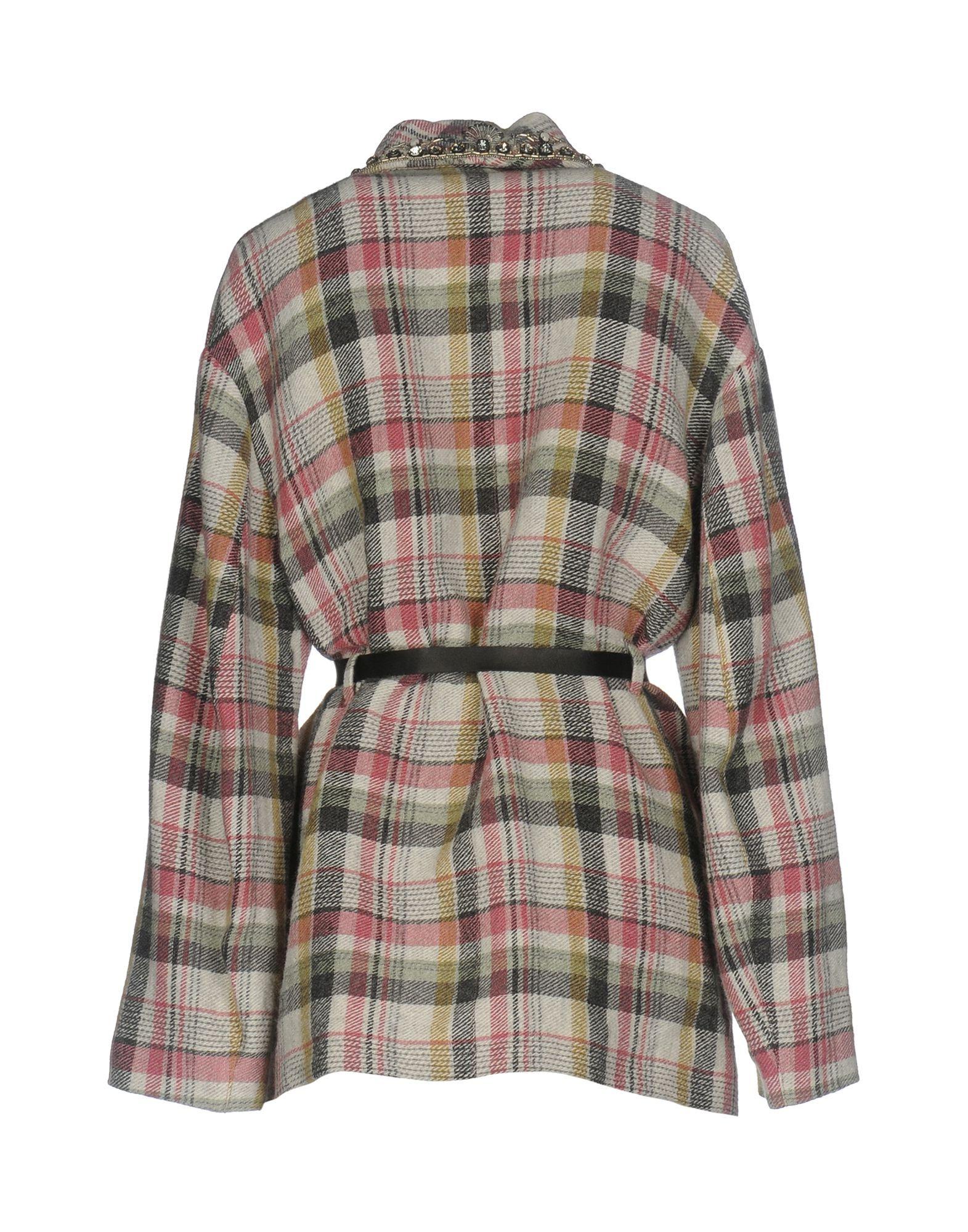 Isabel Marant Pastel Pink Tartan Linen Embellished Jacket