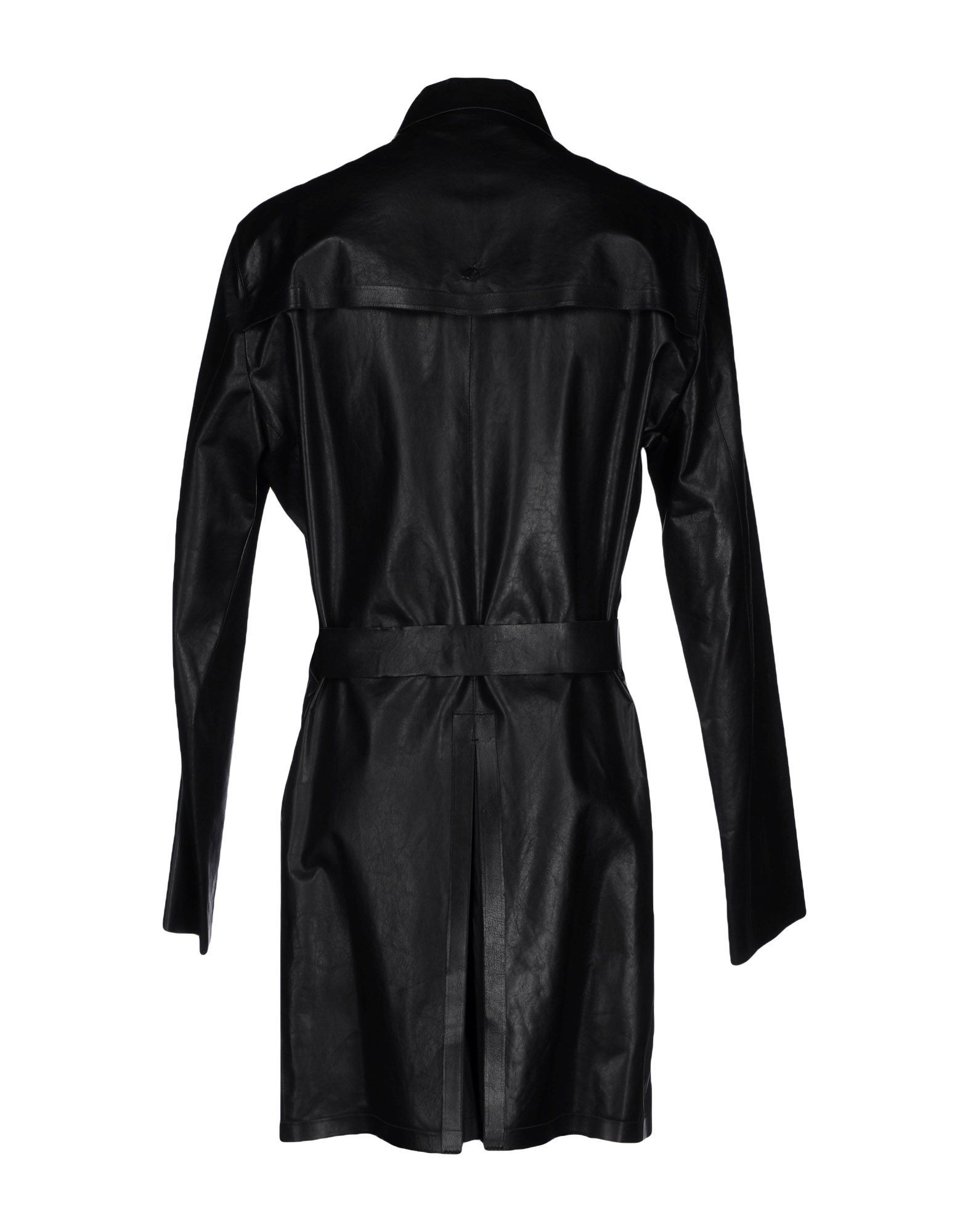 Emporio Armani Black Calf Leather Belted Coat