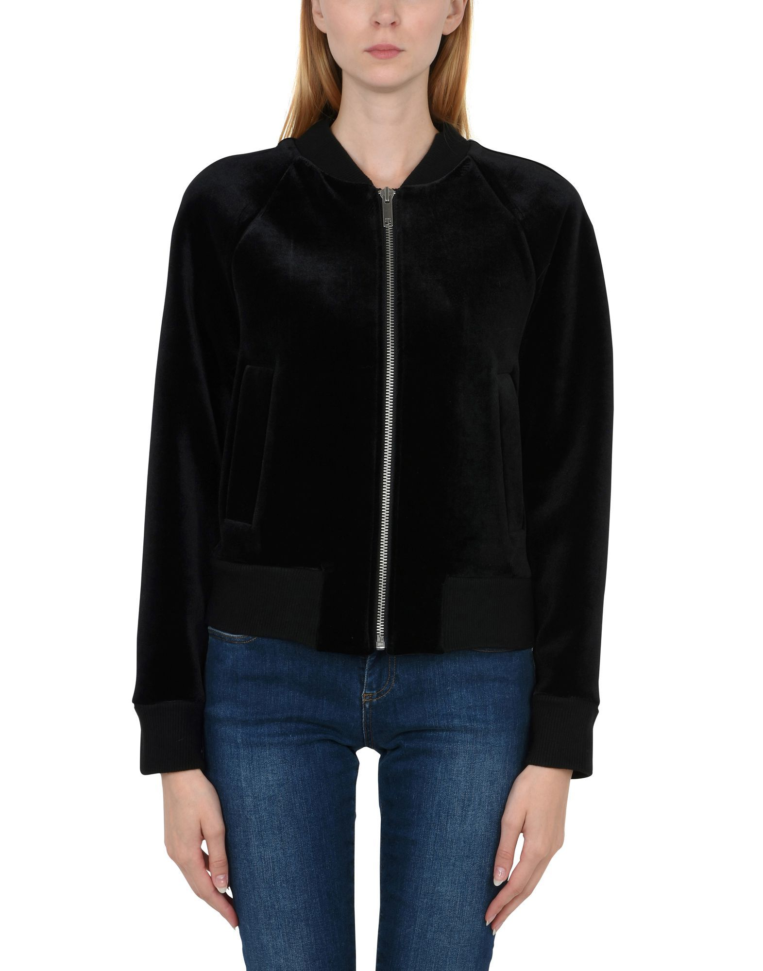 DKNY Black Neoprene And Chenille Bomber Jacket
