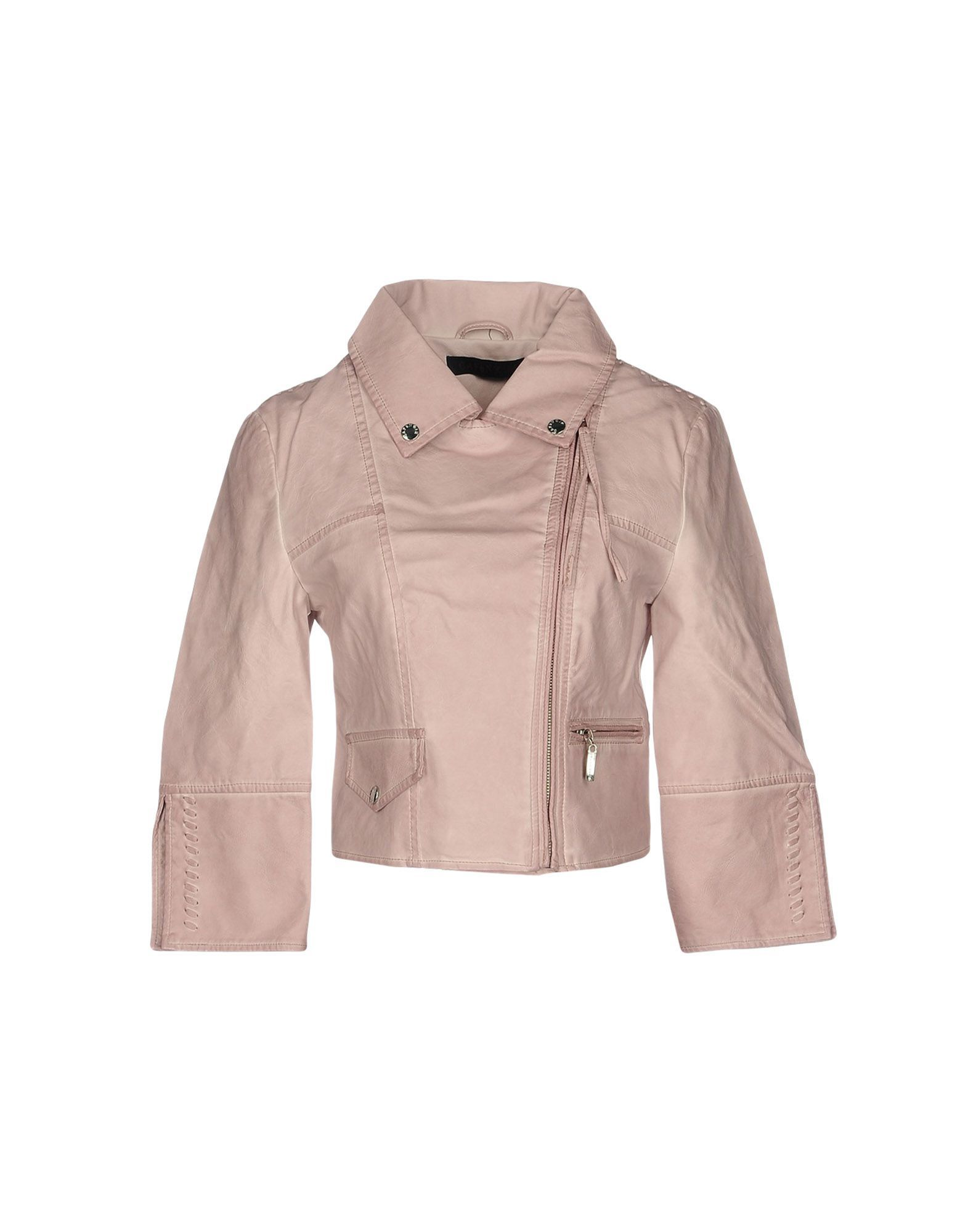 Cafenoir Pastel Pink Faux Leather Jacket