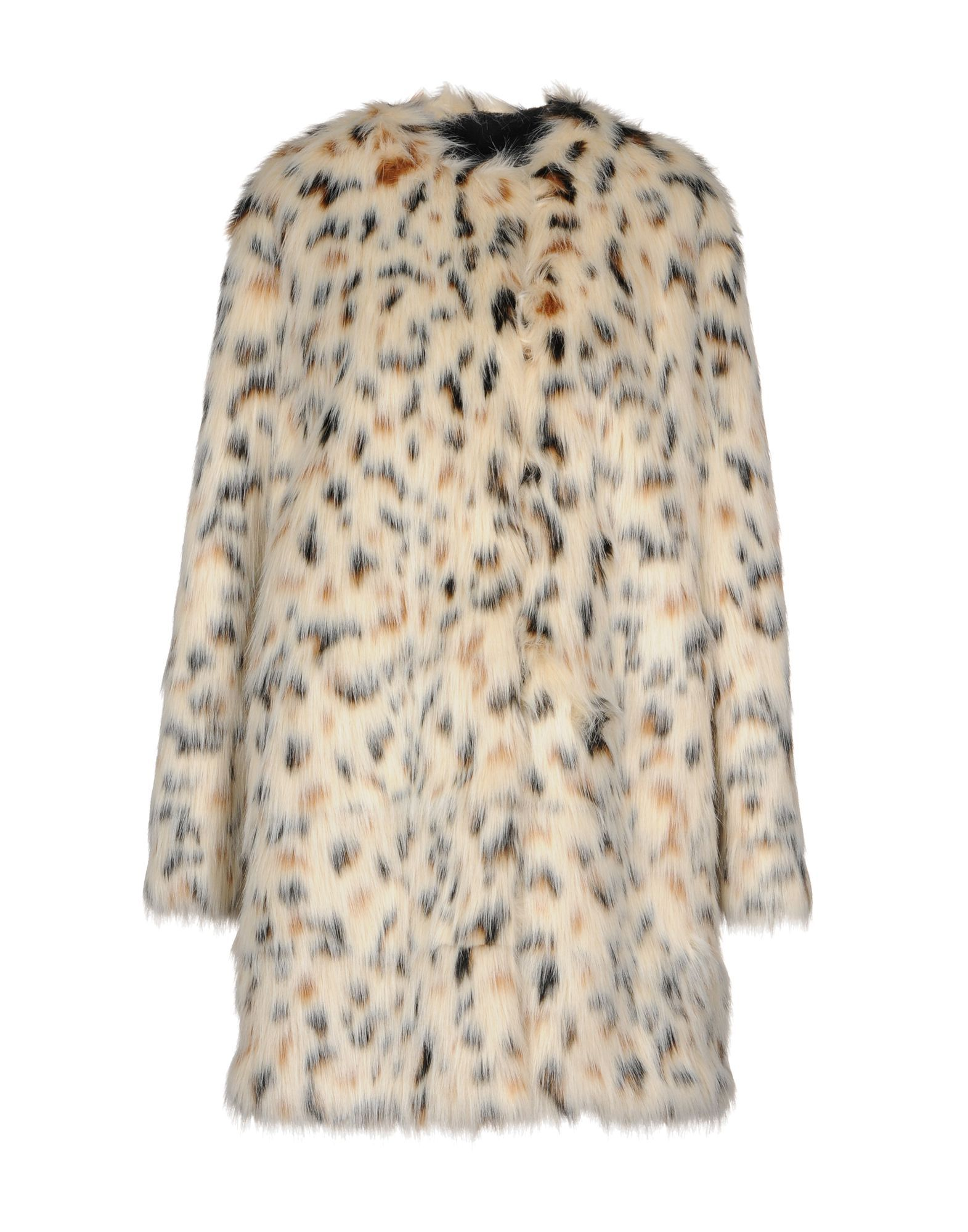 MSGM Beige Print Faux Fur Jacket
