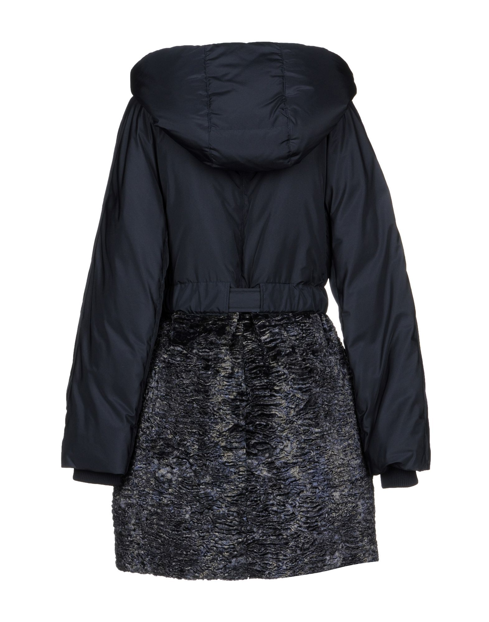 Versace Collection Dark Blue Techno Fabric And Faux Fur Padded Jacket