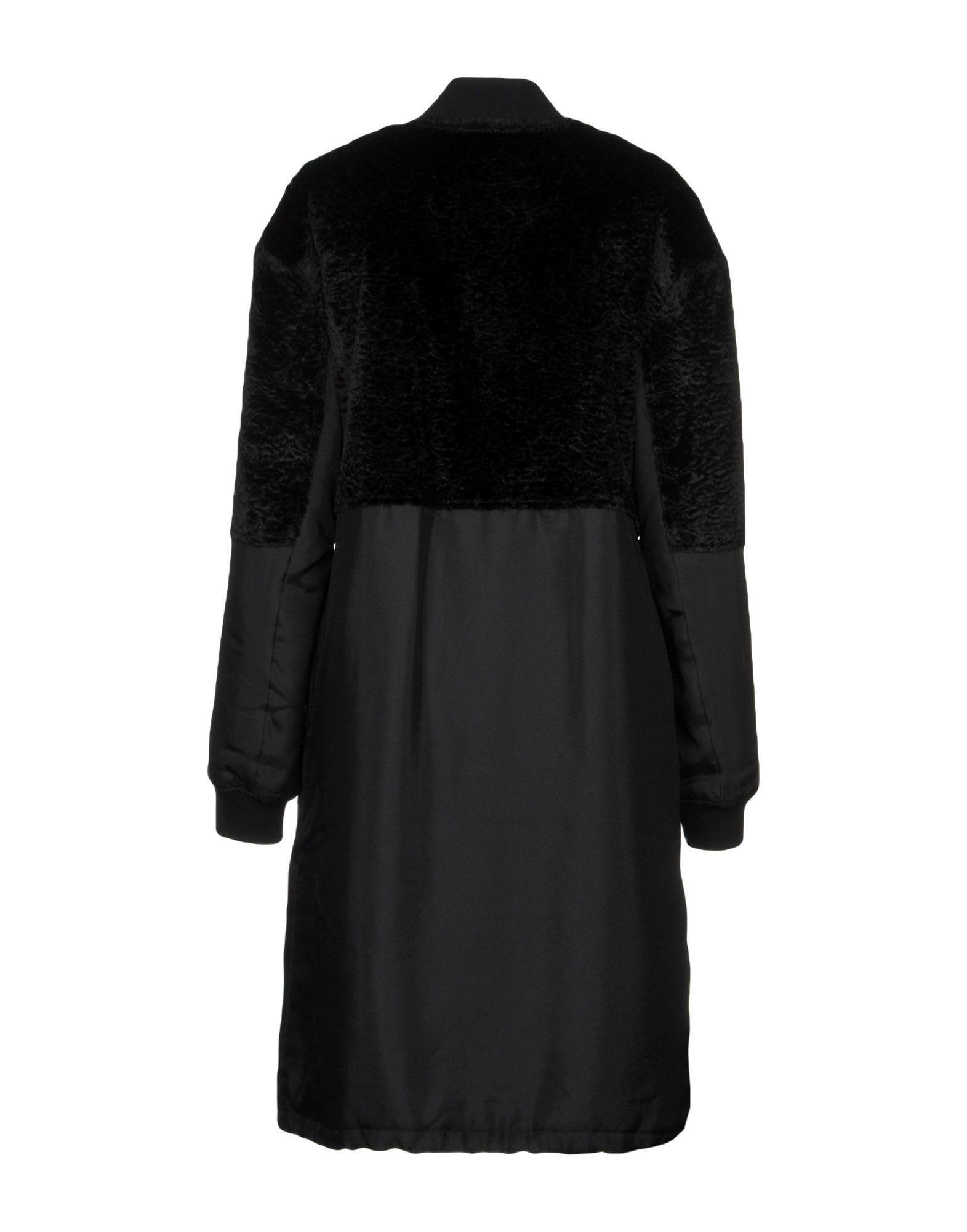 Mcq Alexander Mcqueen Black Faux Fur Overcoat