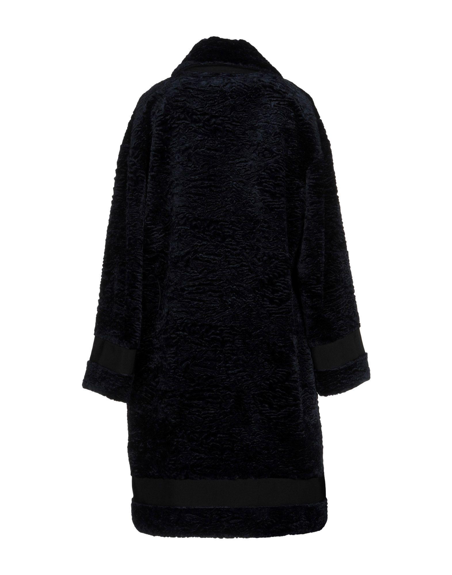 Victoria, Victoria Beckham Dark Blue Faux Fur Coat