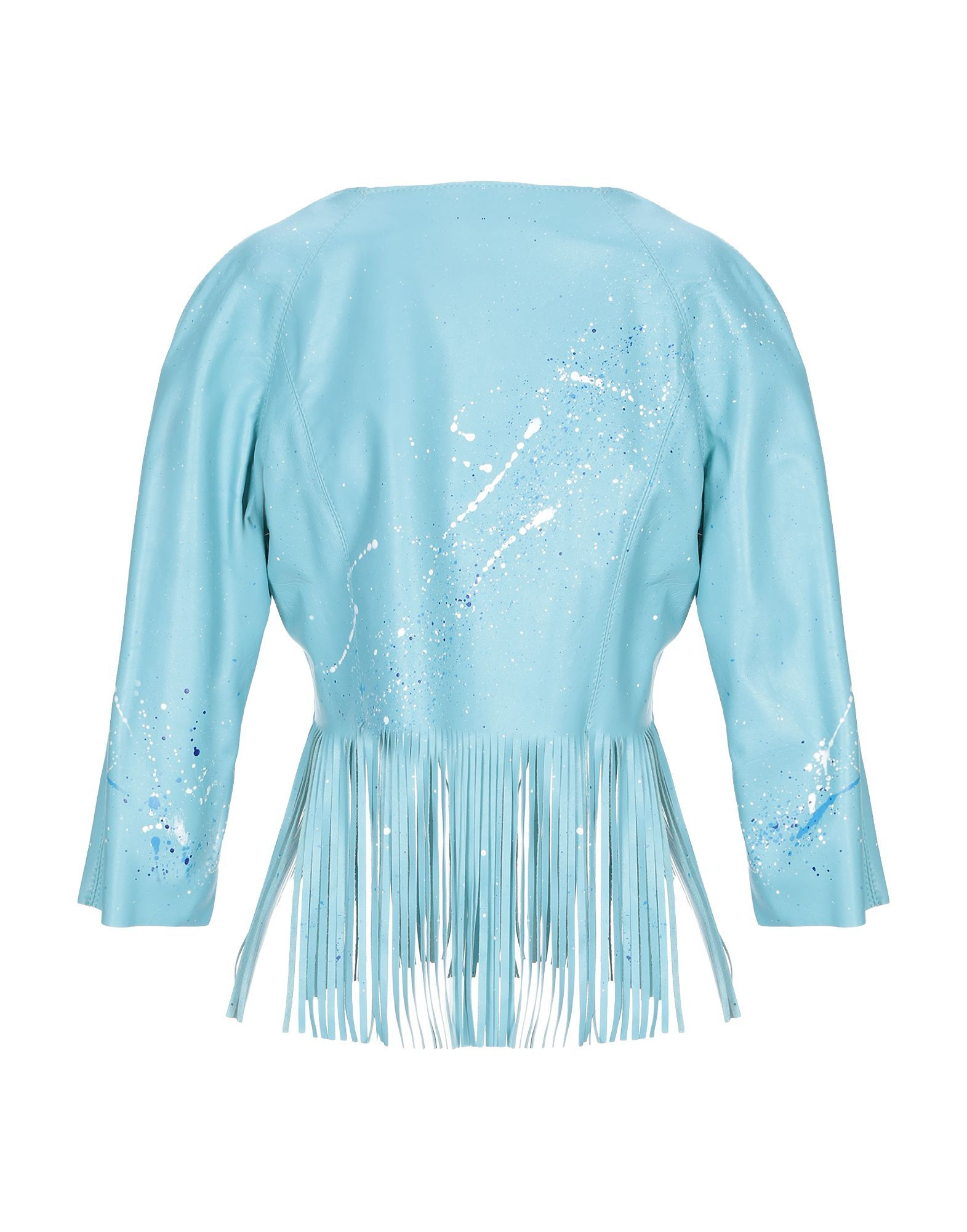 SUITS AND JACKETS Blouson Sky blue Woman Leather