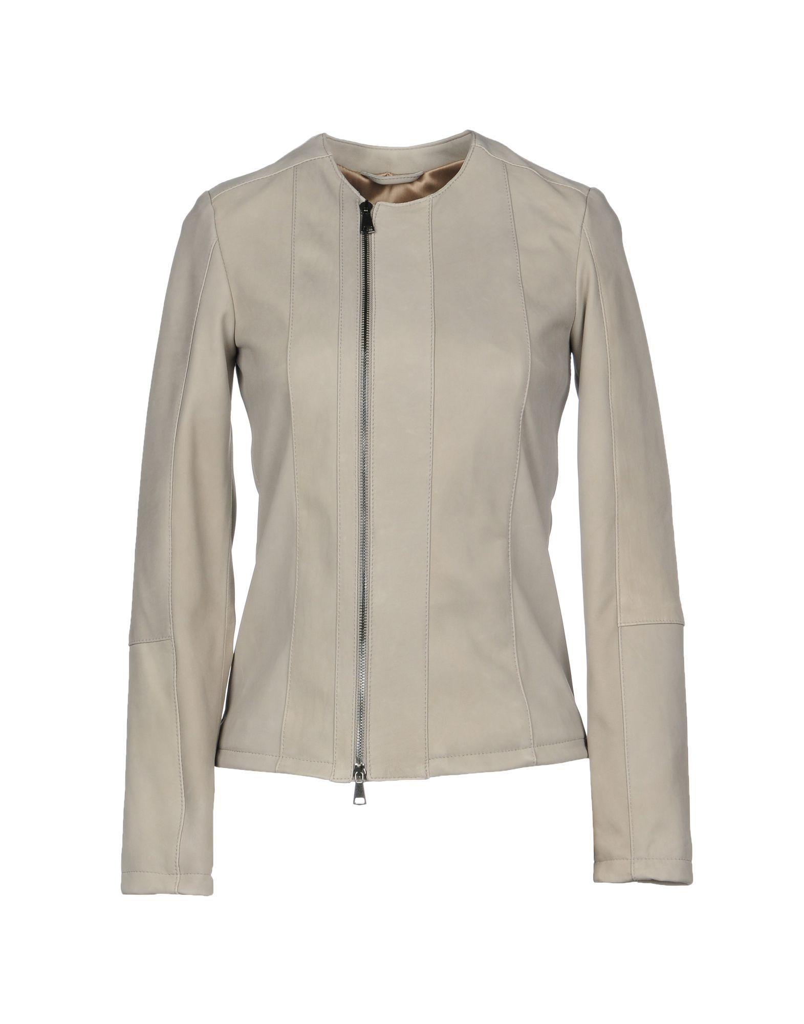 COATS & JACKETS Vintage De Luxe Dove grey Woman Leather