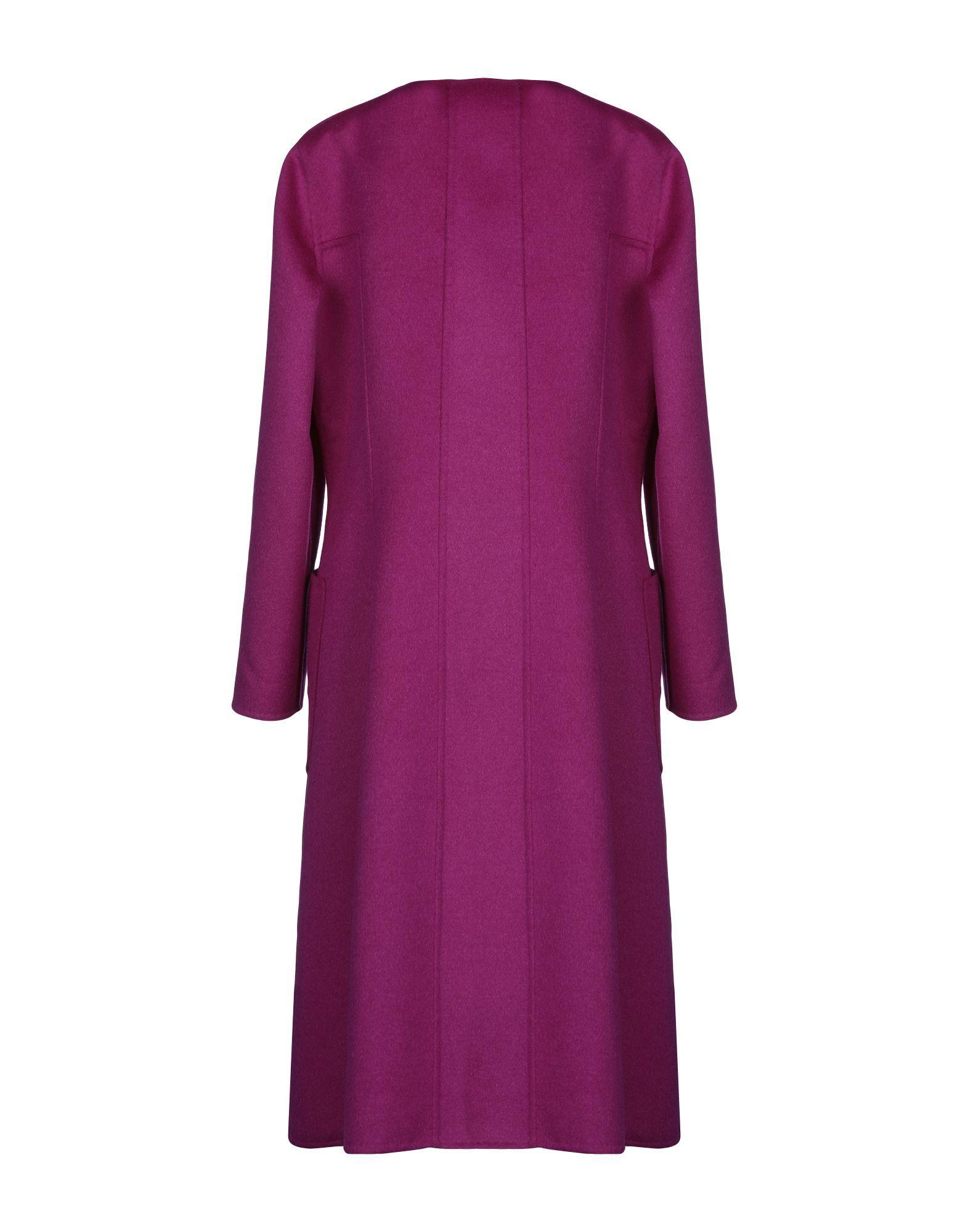 Oscar De La Renta Purple Wool Coat
