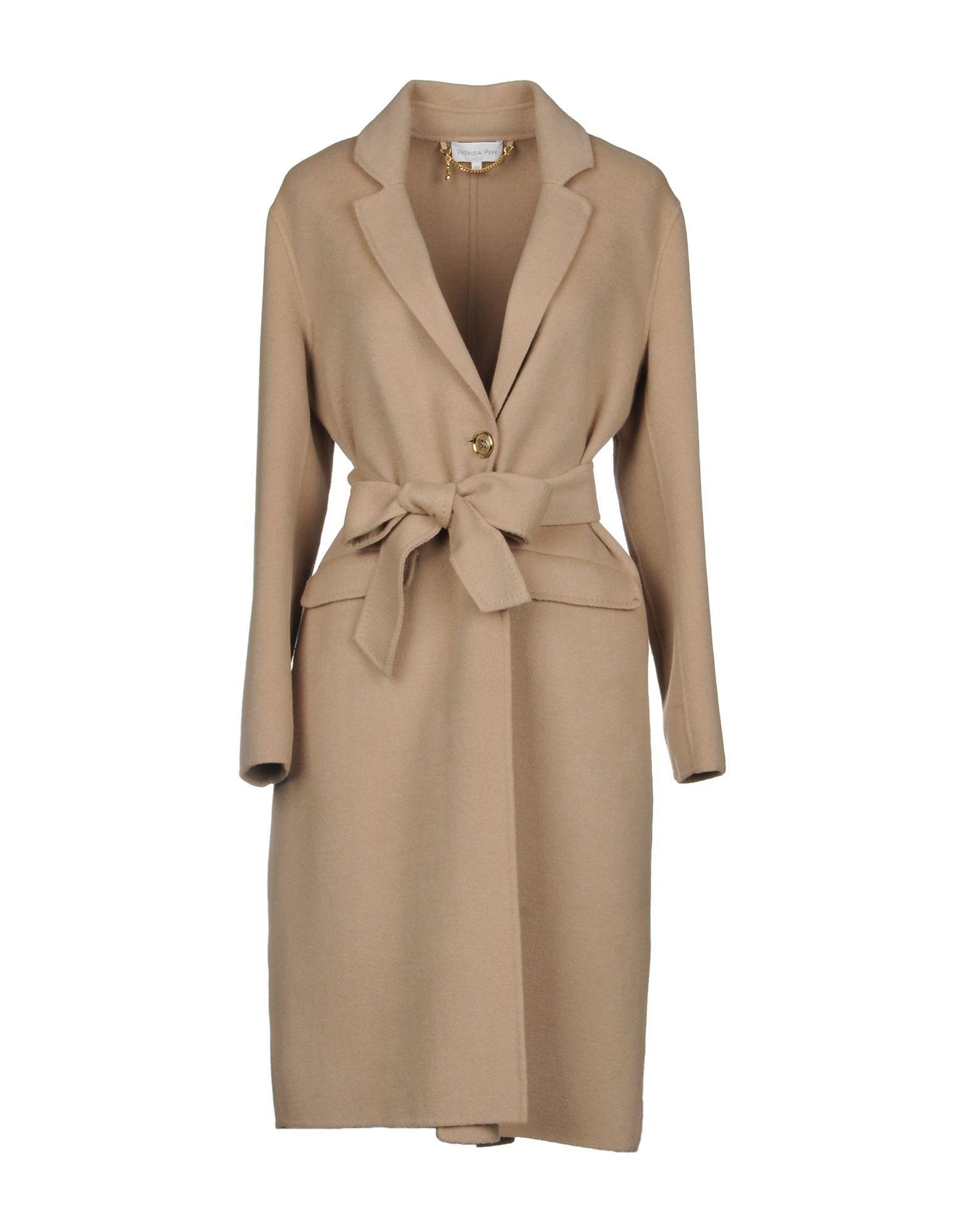 Patrizia Pepe Beige Wool Belted Coat