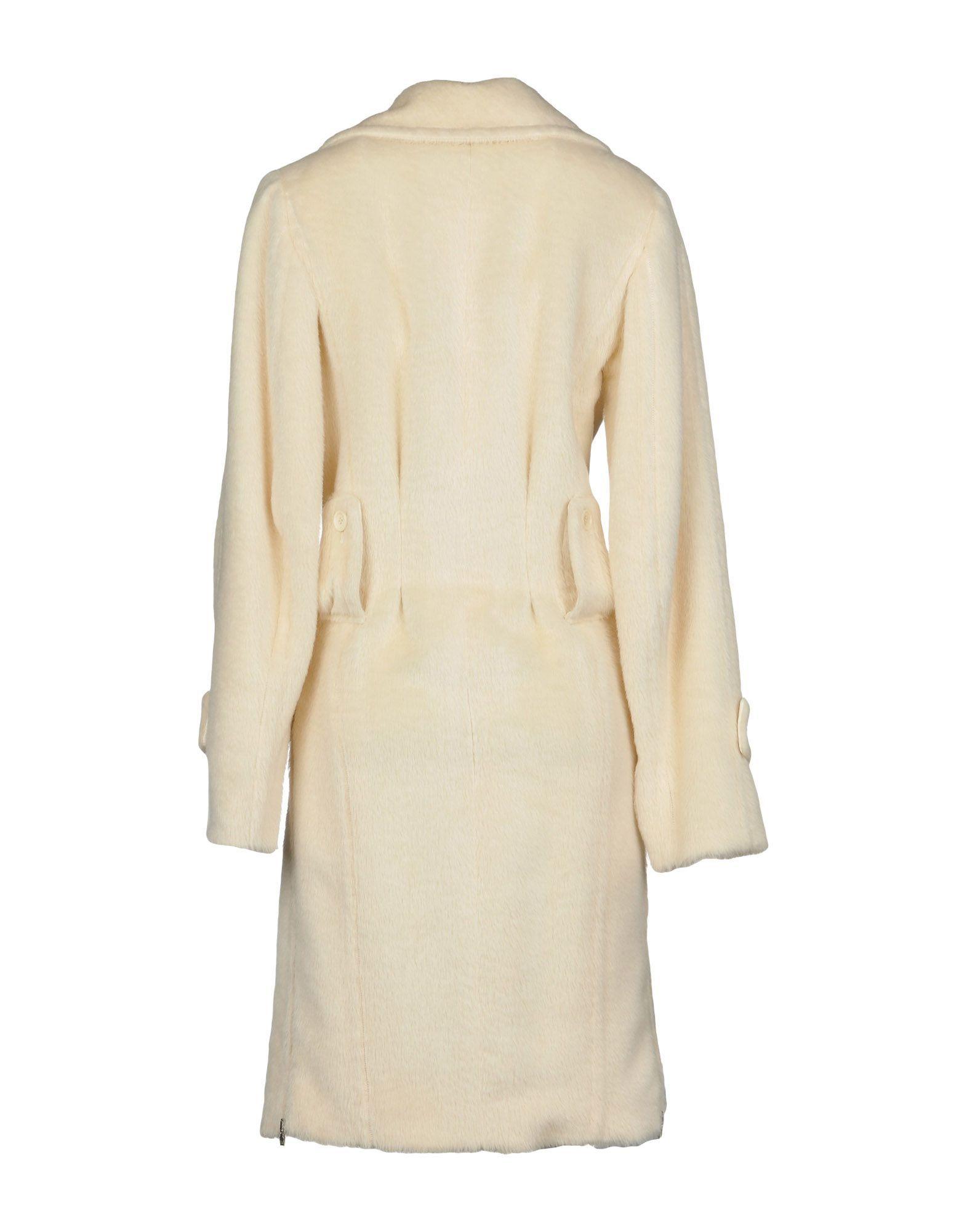 John Richmond Ivory Alpaca Overcoat