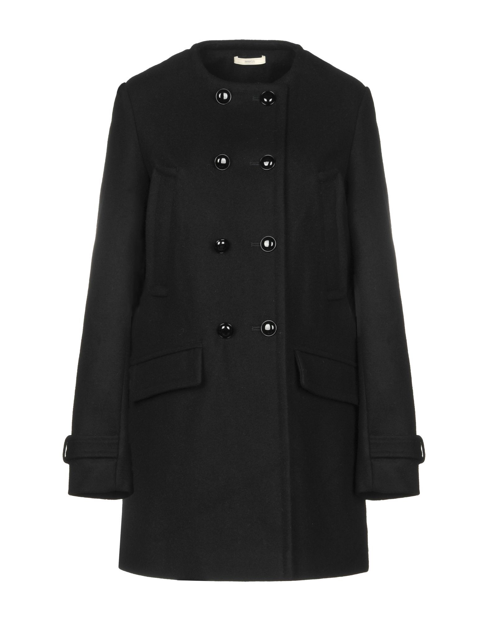 Sessun Black Wool Double Breasted Coat