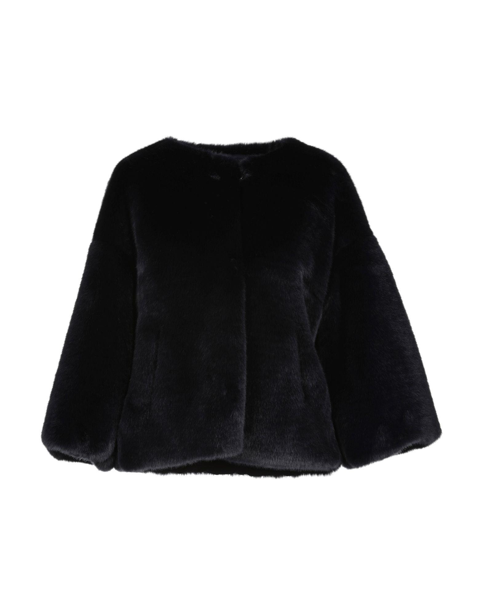 Atos Lombardini Dark Blue Faux Fur Jacket
