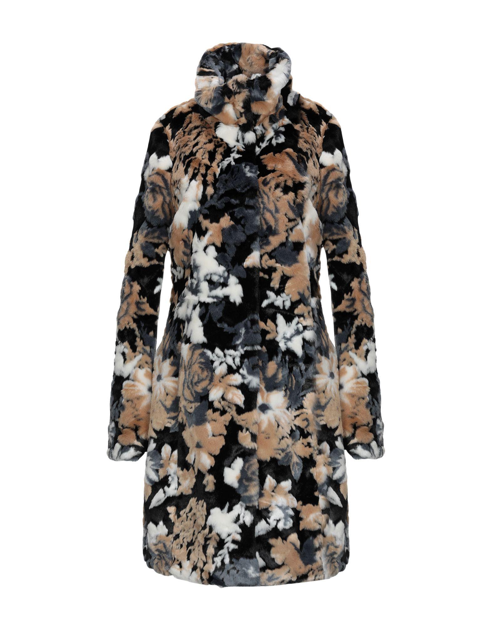 Patrizia Pepe Camel Print Faux Fur Coat
