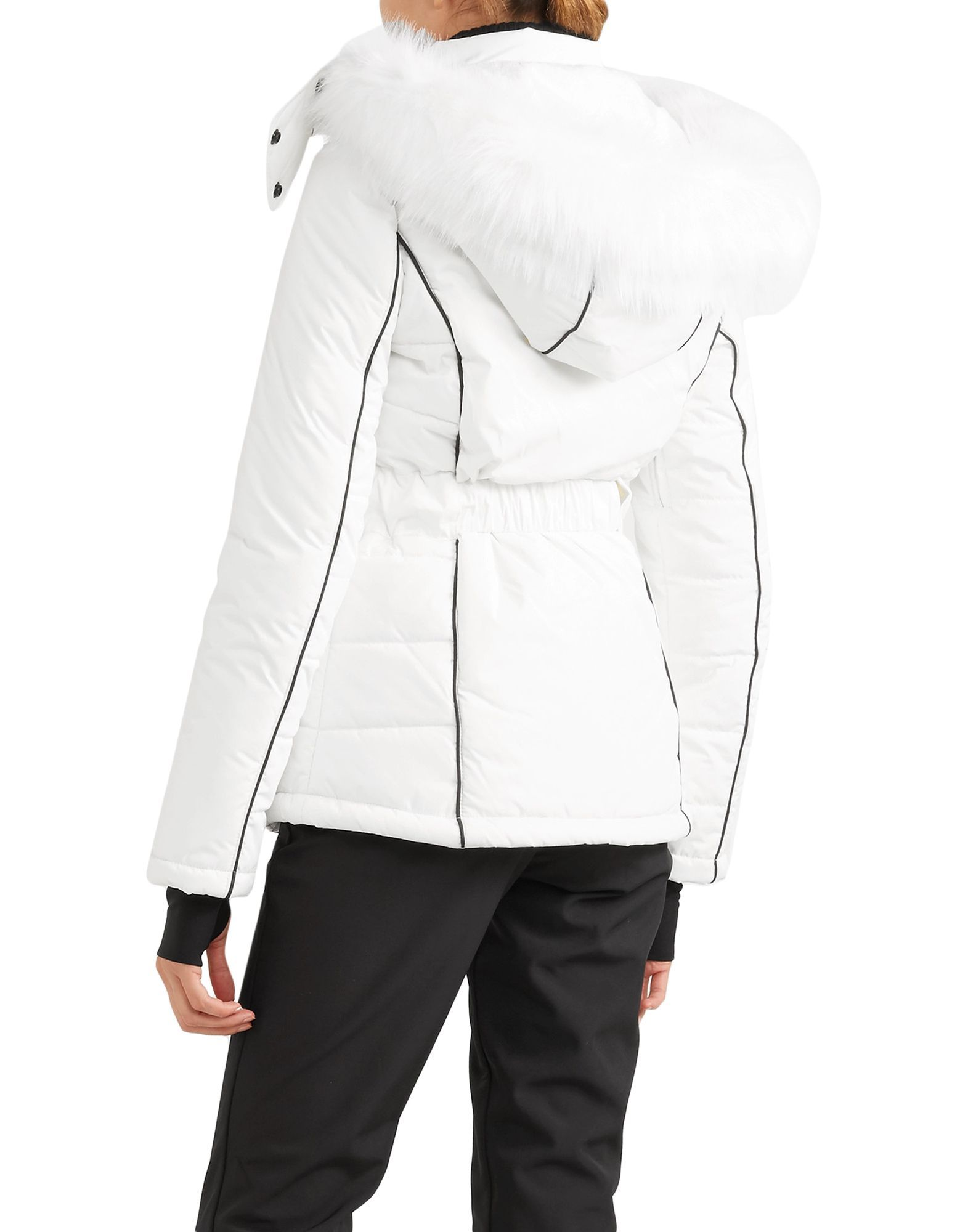 Topshop White Techno Fabric Belted Ski Jacket With Faux Fur Trim