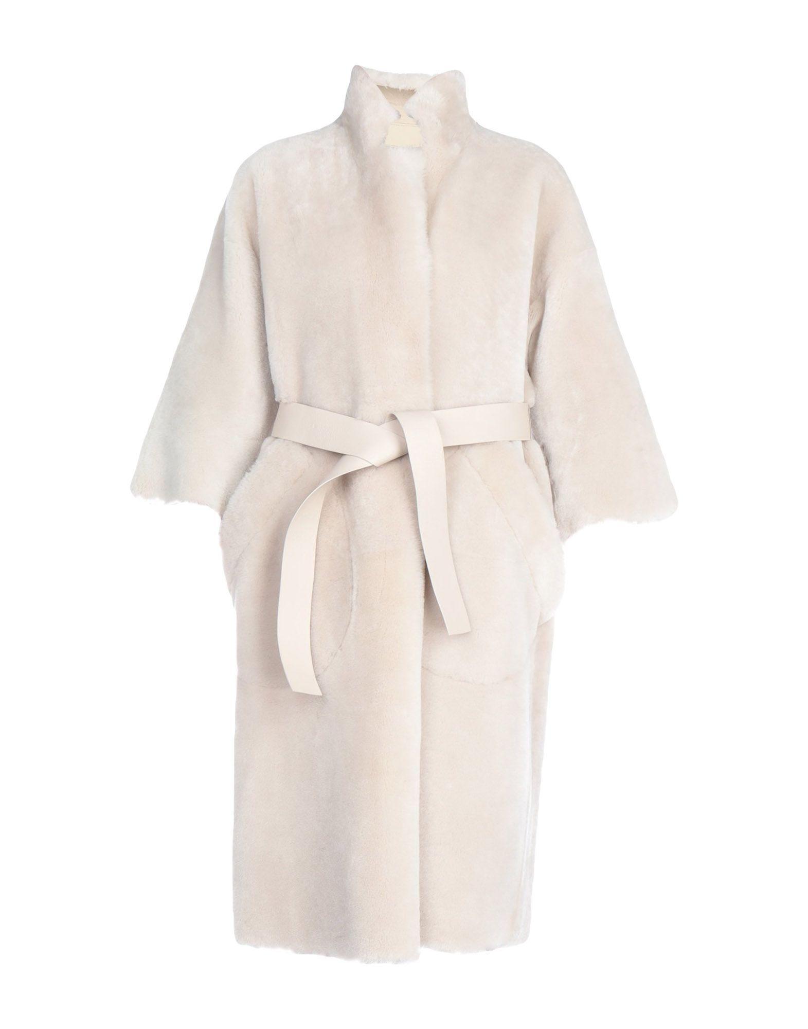 Rochas Light Grey Sheepskin Belted Coat