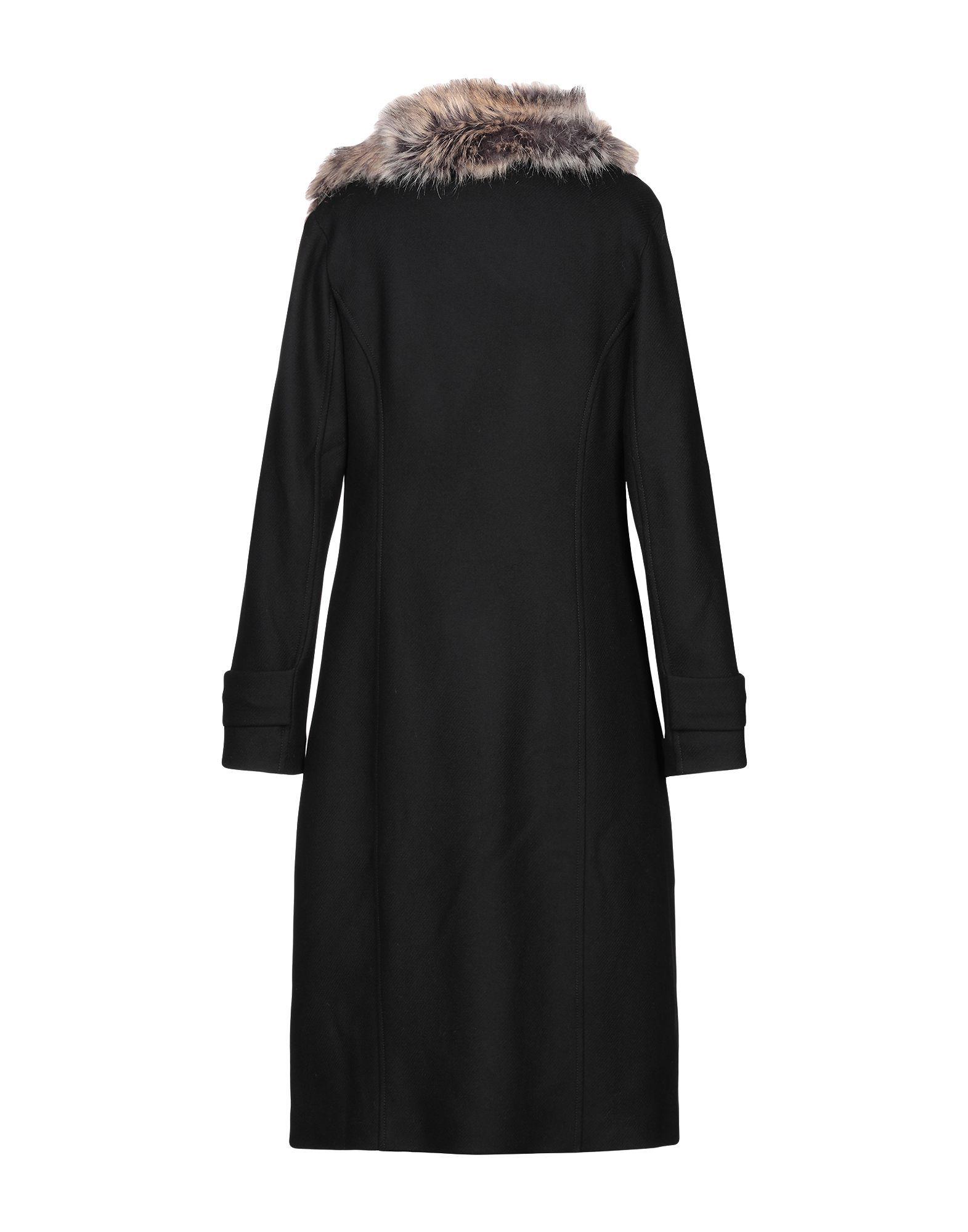 Pinko Black Wool And Faux Fur Coat