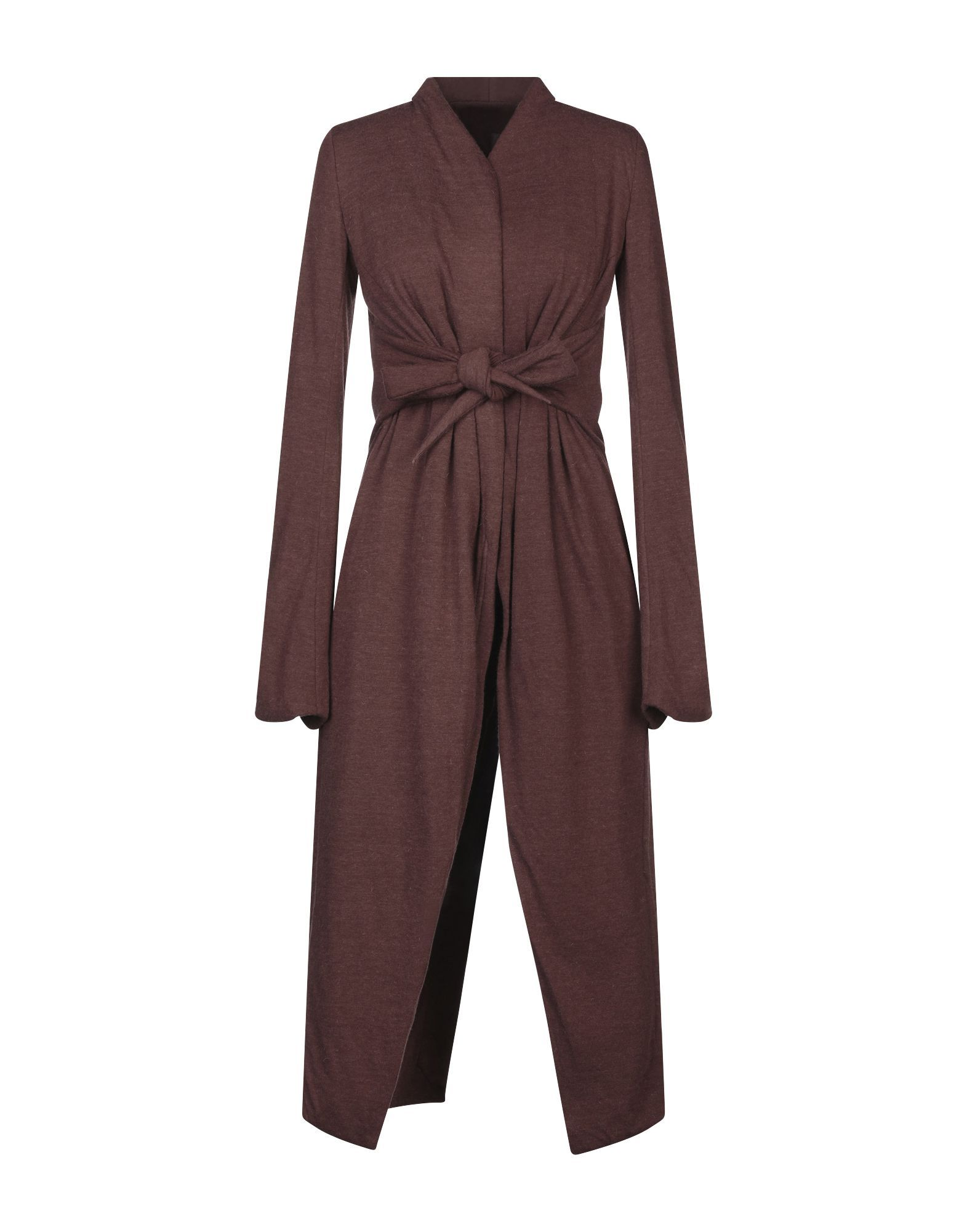 Rick Owens Lilies Cocoa Jersey Tie Front Coat