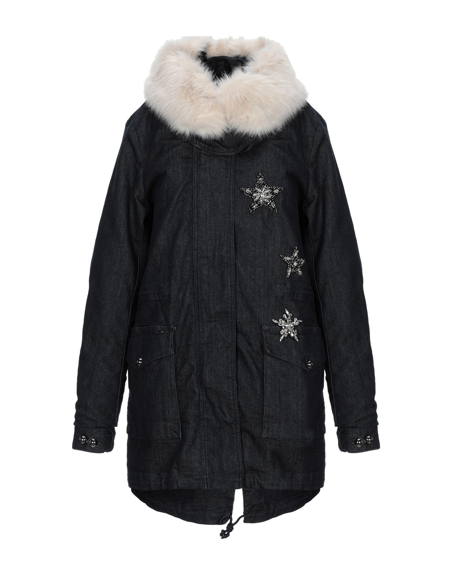 Liu Jo Blue Cotton Coat With Faux Fur Trim
