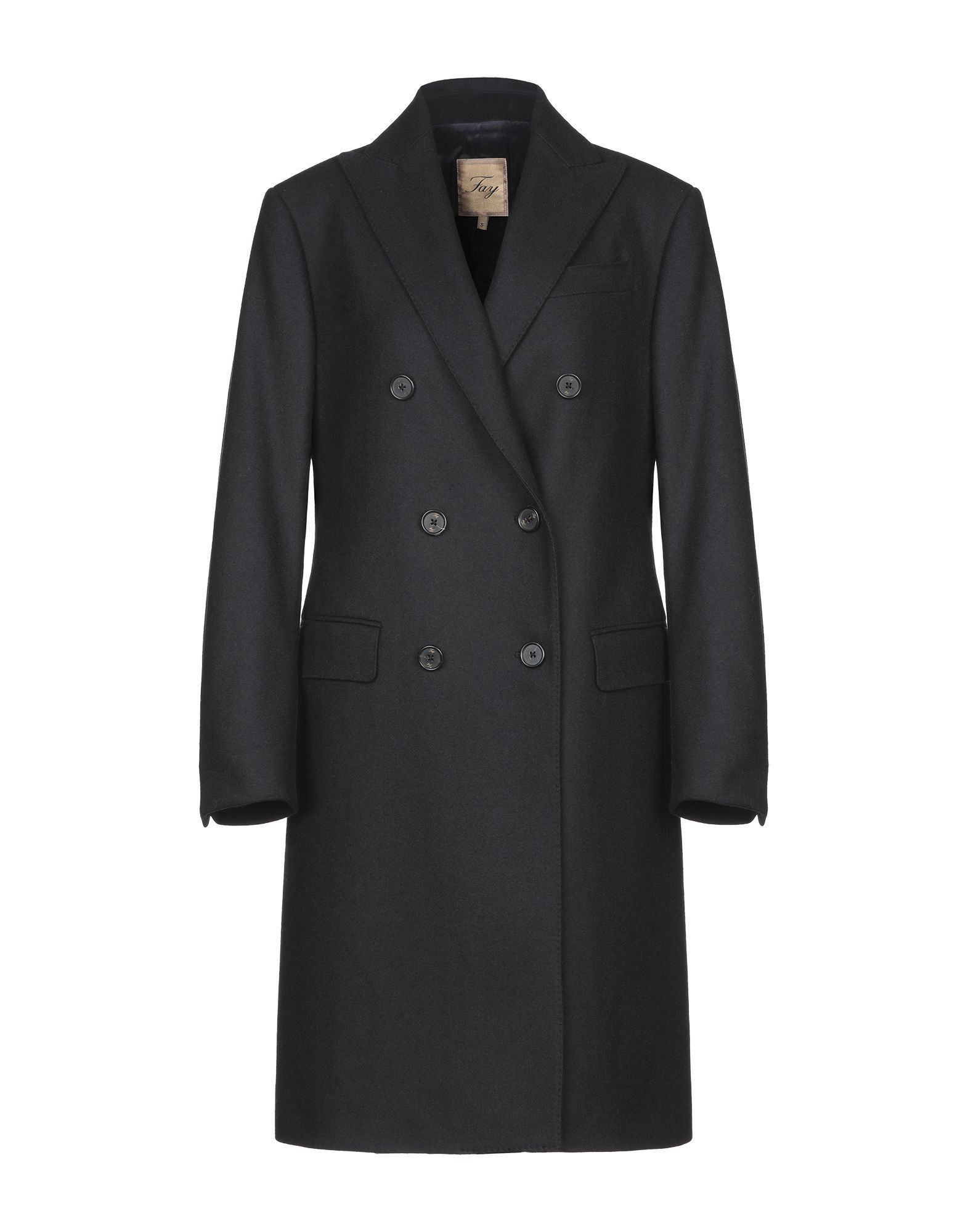 Fay Black Wool Double Breasted Overcoat