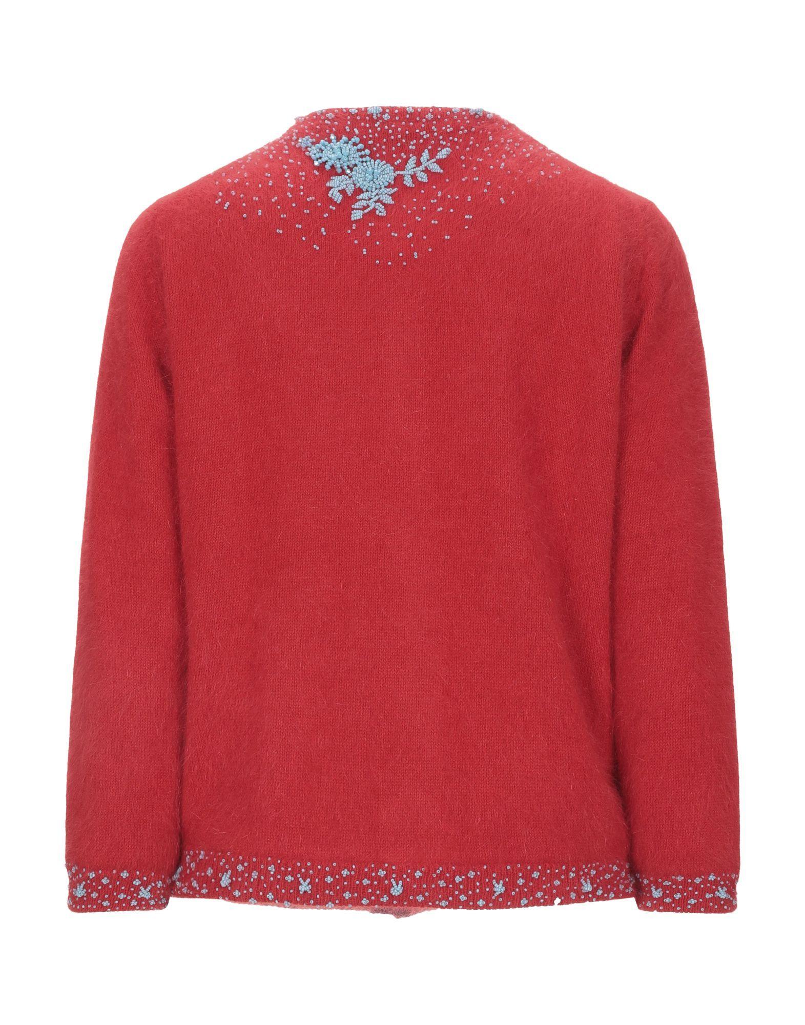 Prada Red Angora Knit Beaded Cardigan
