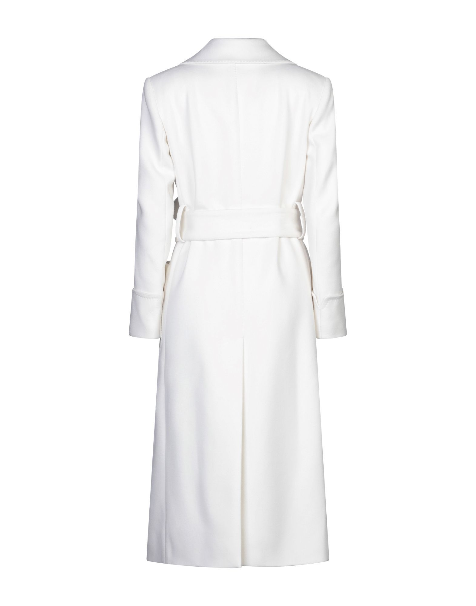 Dolce & Gabbana White Wool Belted Double Breasted Overcoat