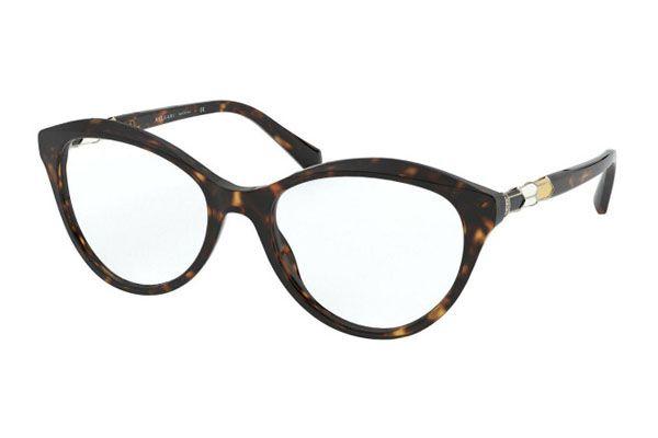 Bvlgari Cat eye plastic Unisex Eyeglasses Dark Havana / Clear Lens
