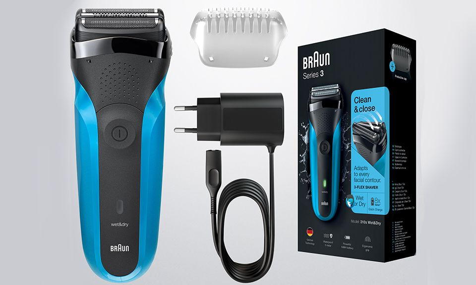 Braun Shaver 310 BLK/BLU Box