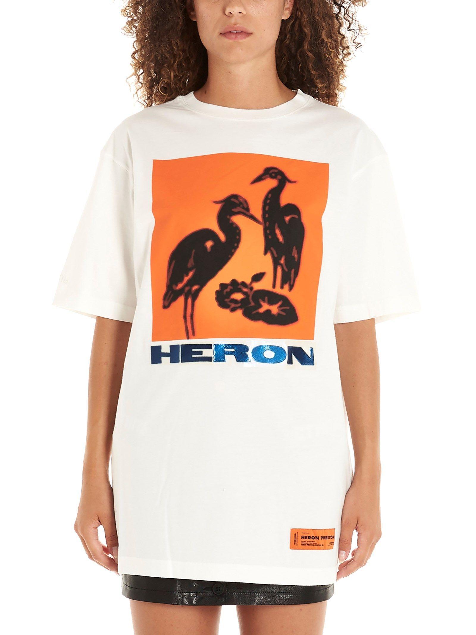 HERON PRESTON WOMEN'S HWAA001E197600010288 WHITE COTTON T-SHIRT