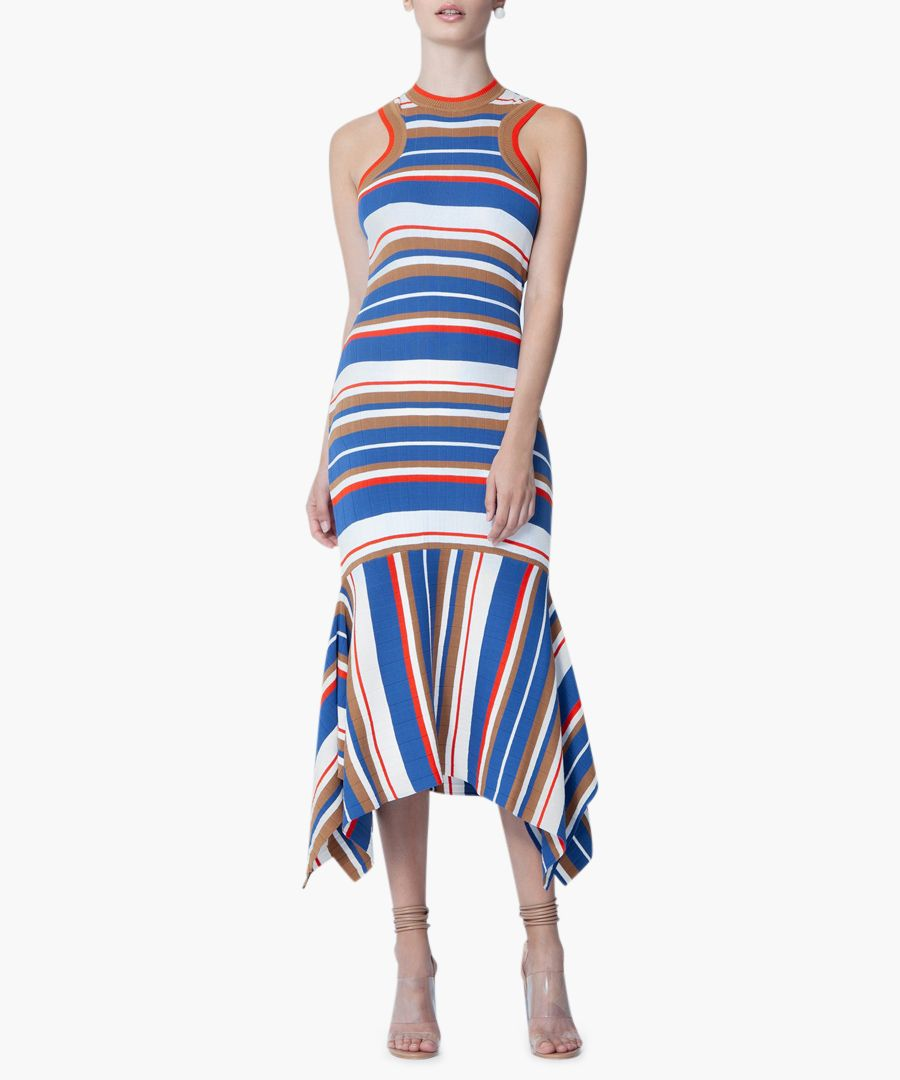 Adorlee blue & orange knit midi dress