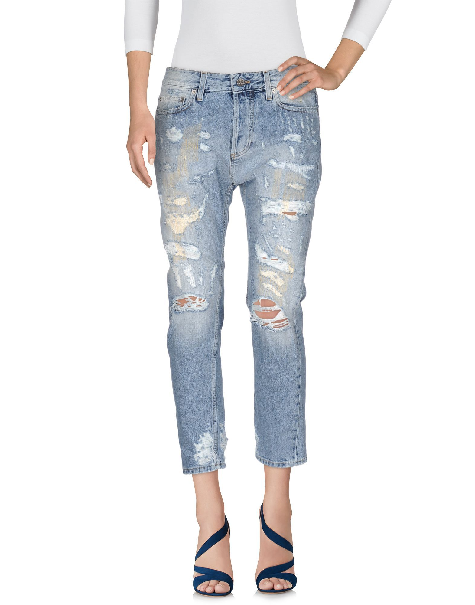 Mauro Grifoni Blue Cotton Cropped Jeans