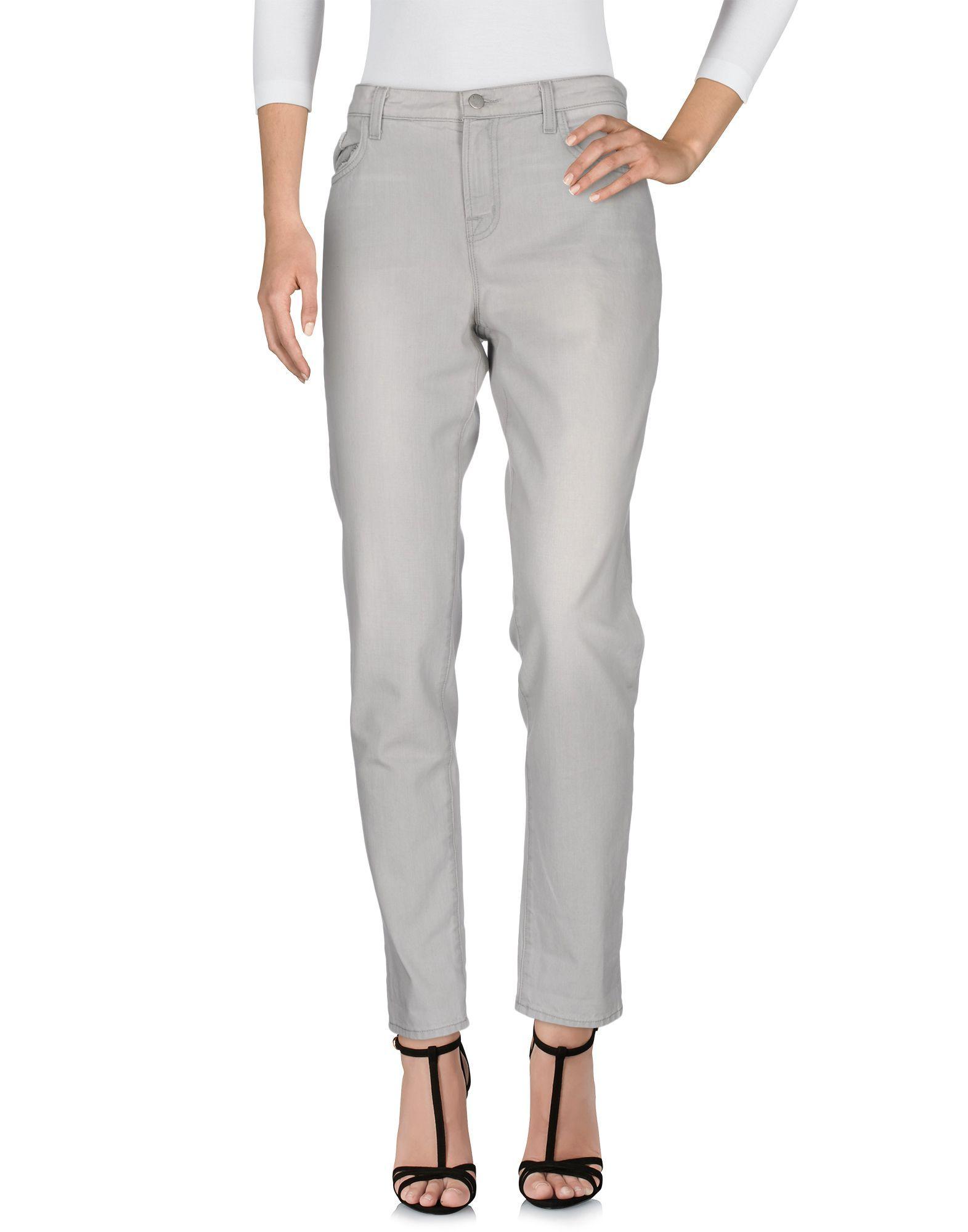 J Brand Light Grey Cotton Straight Leg Jeans