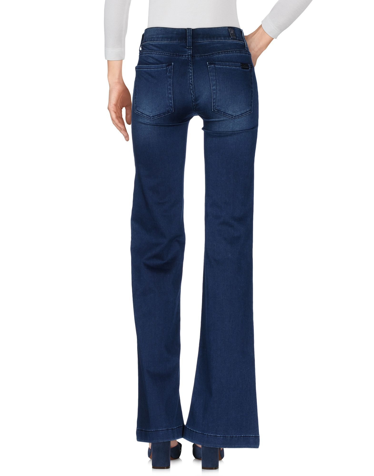 7 For All Mankind Blue Cotton Flare Wide Leg Jeans