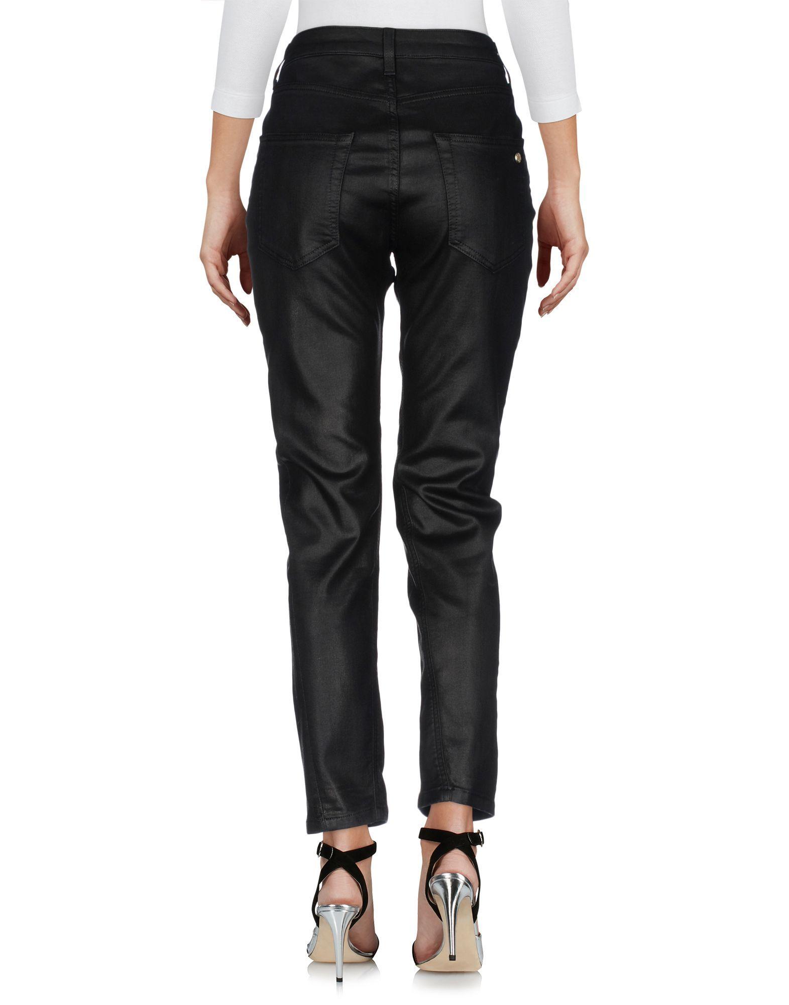 Manila Grace Black Cotton Coated Jeans