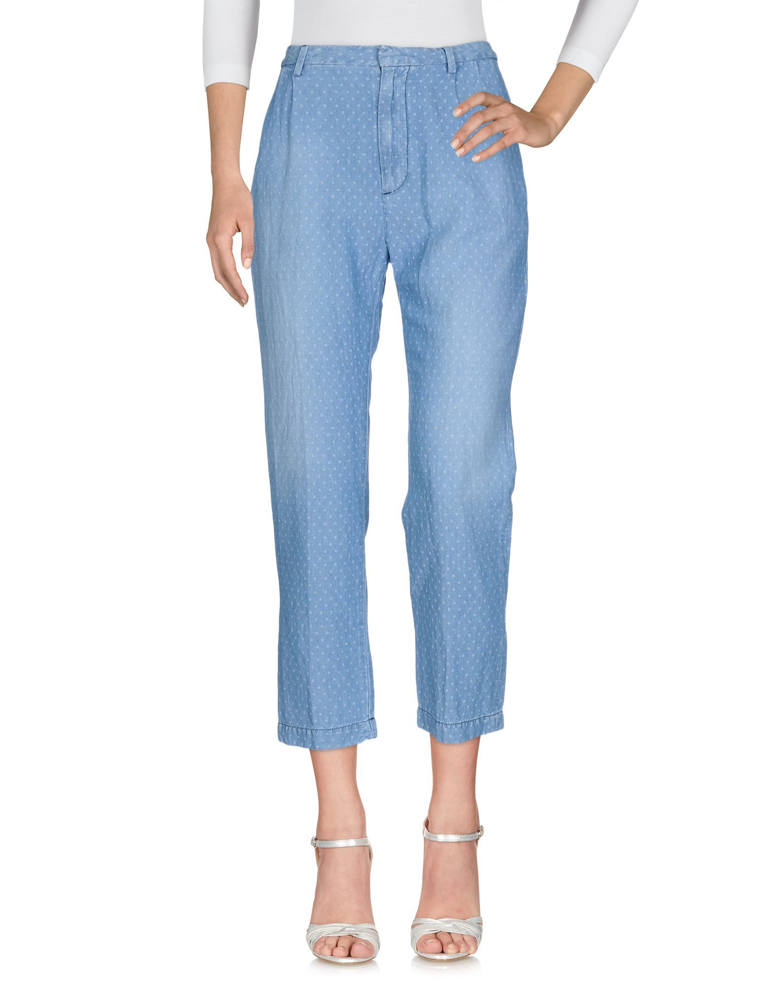 Cycle Blue Linen High Waisted Polka Dot Jeans