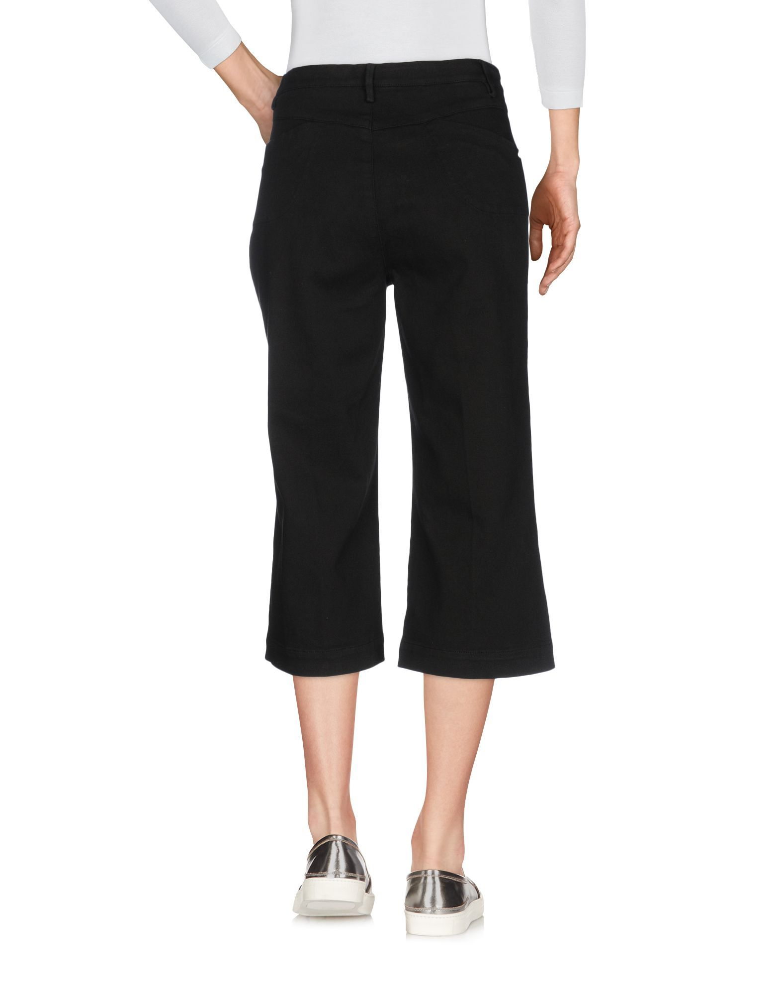 Manila Grace Black Cotton Cropped Trousers