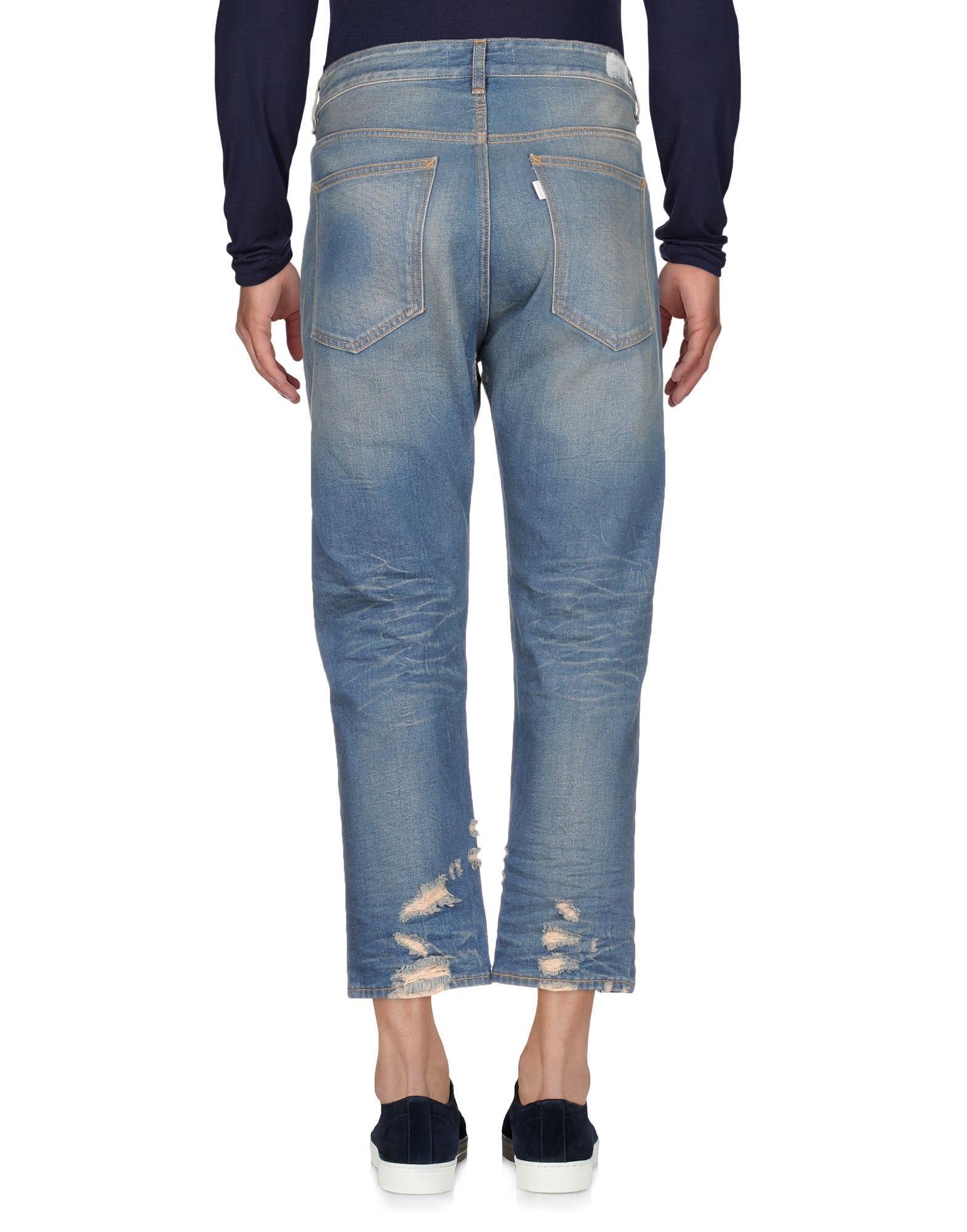 Haikure Blue Cotton Straight Leg Cropped Jeans