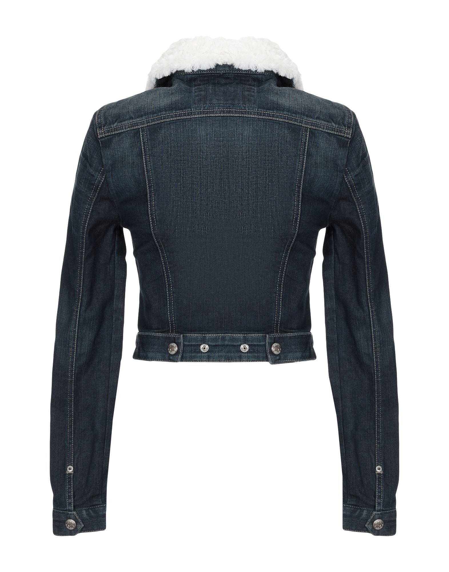 Guess Blue Denim Jacket With Faux Fur Collar