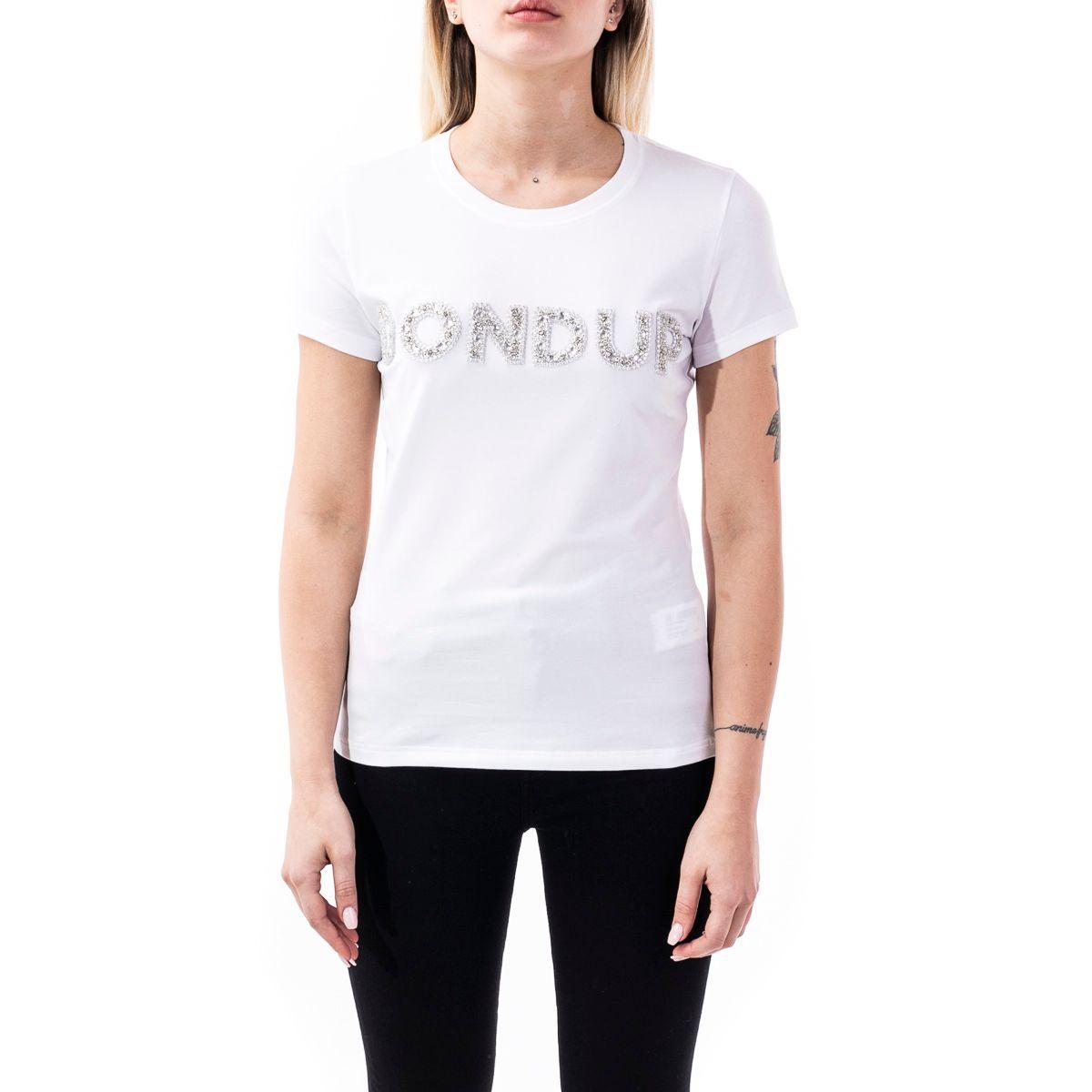 DONDUP WOMEN'S S007JS0241ZE2000 WHITE COTTON T-SHIRT