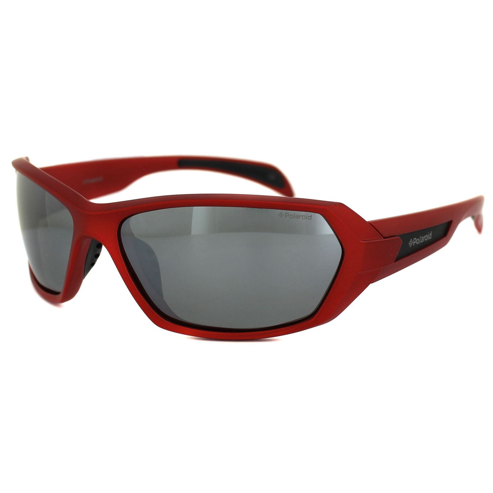 Polaroid Sport Sunglasses P7312 33W JB Shiny Red Grey Silver Mirror Polarized