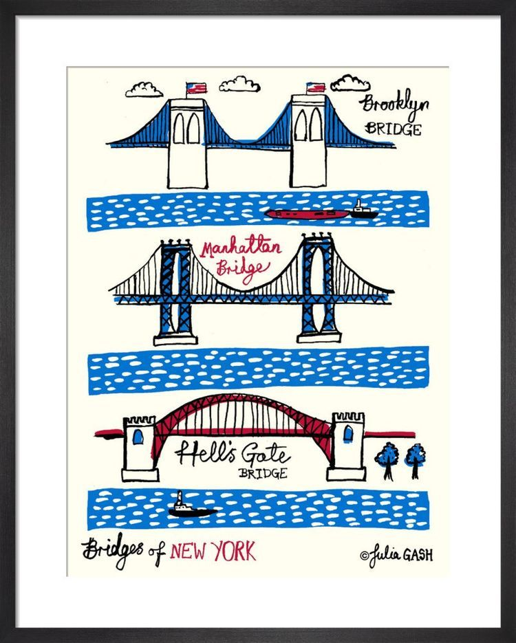 Bridges of New York Cityscape by Julia Gash