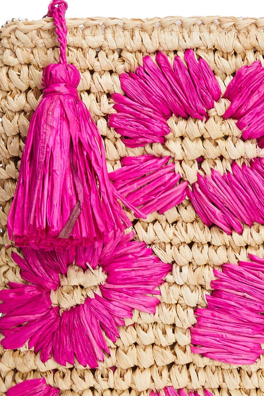 LEOPARD RAFFIA CLUTCH PINK