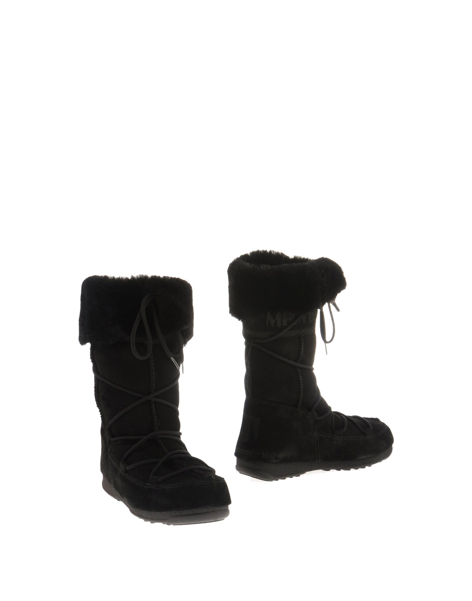 Moon Boot Black Leather Lace Up Boots