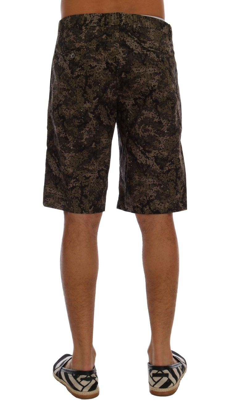 Dolce & Gabbana Black Green Cotton Military Pattern Shorts