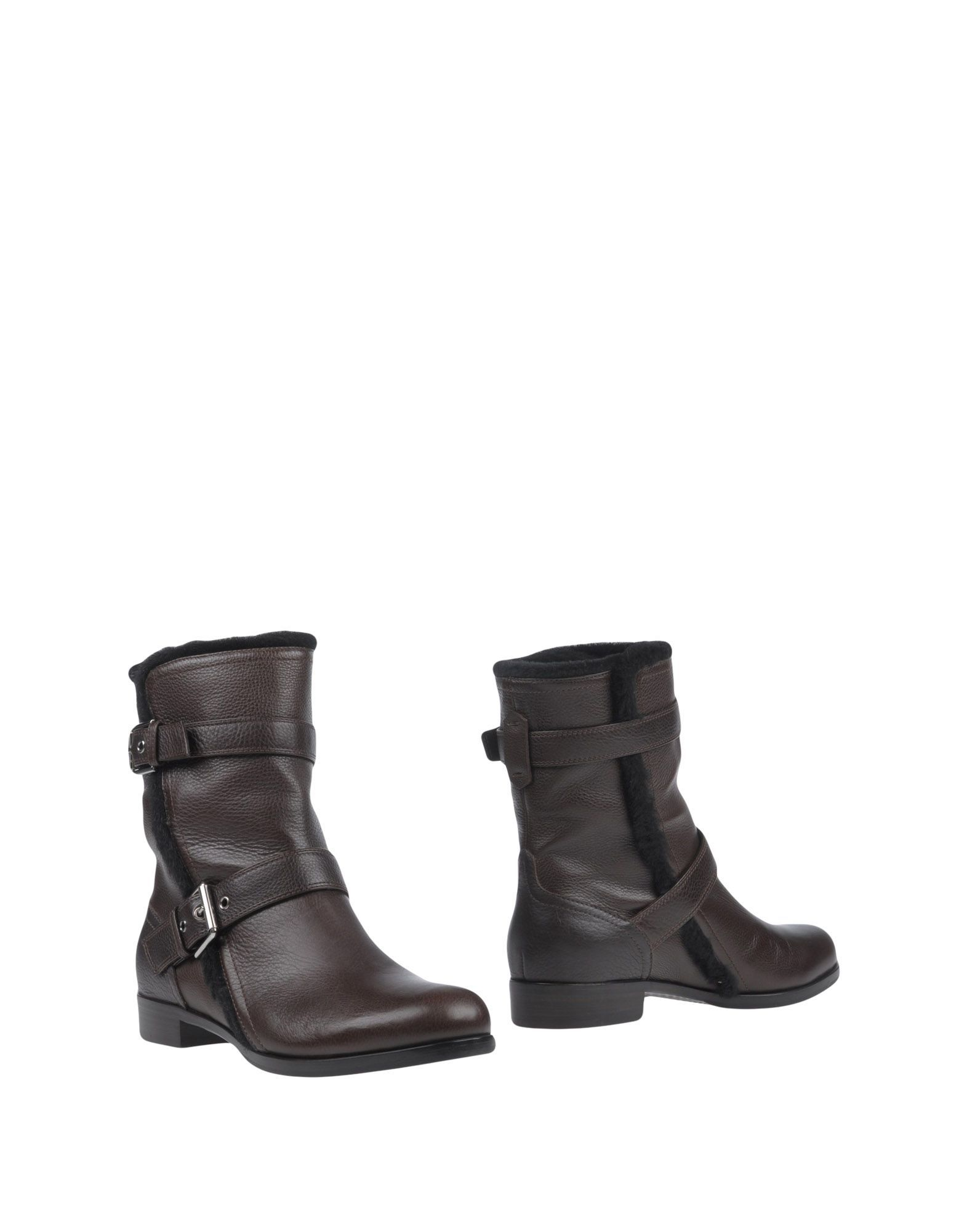 Gianvito Rossi Dark Brown Shearling Ankle Boots