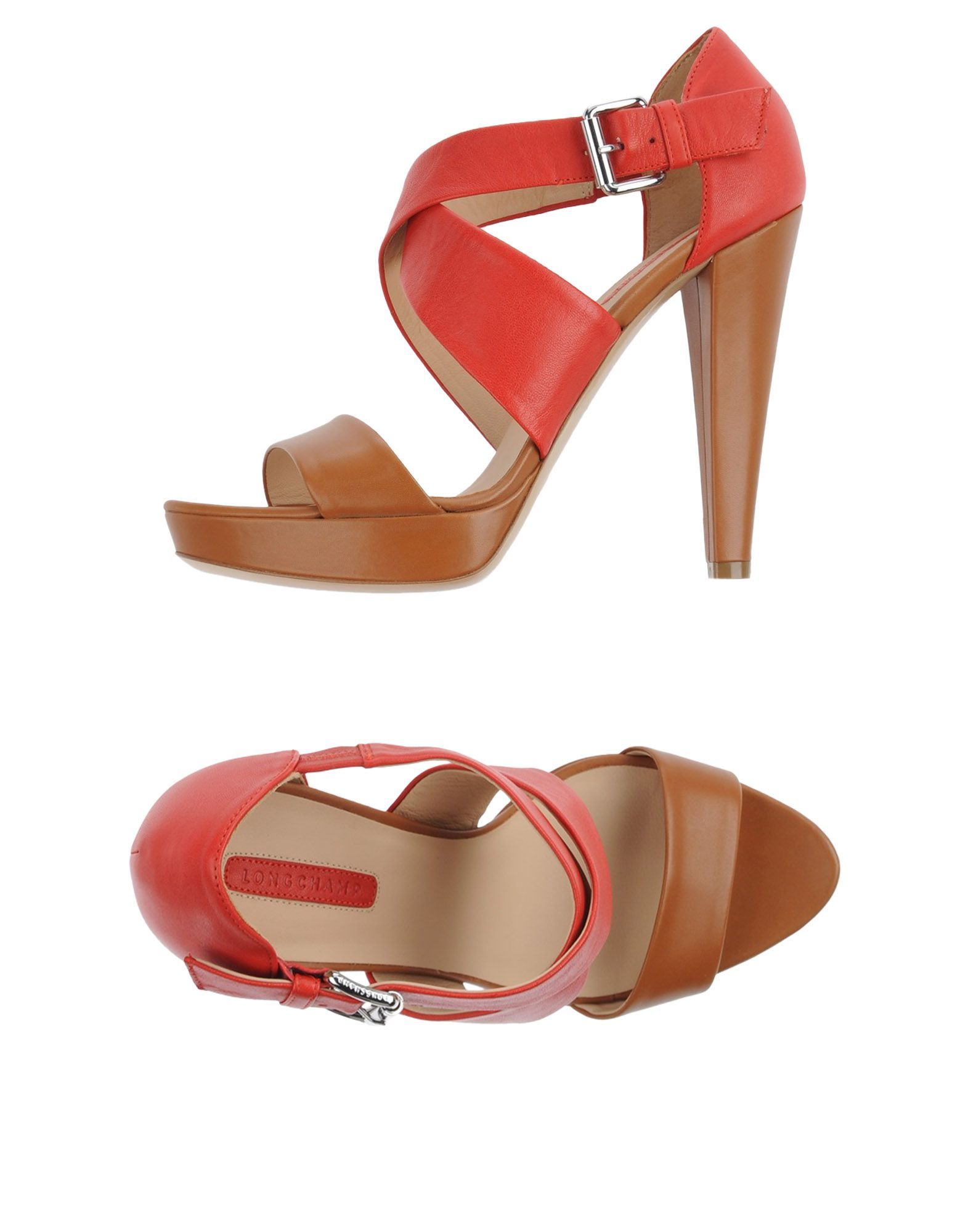 Longchamp Brown Leather Heeled Sandals