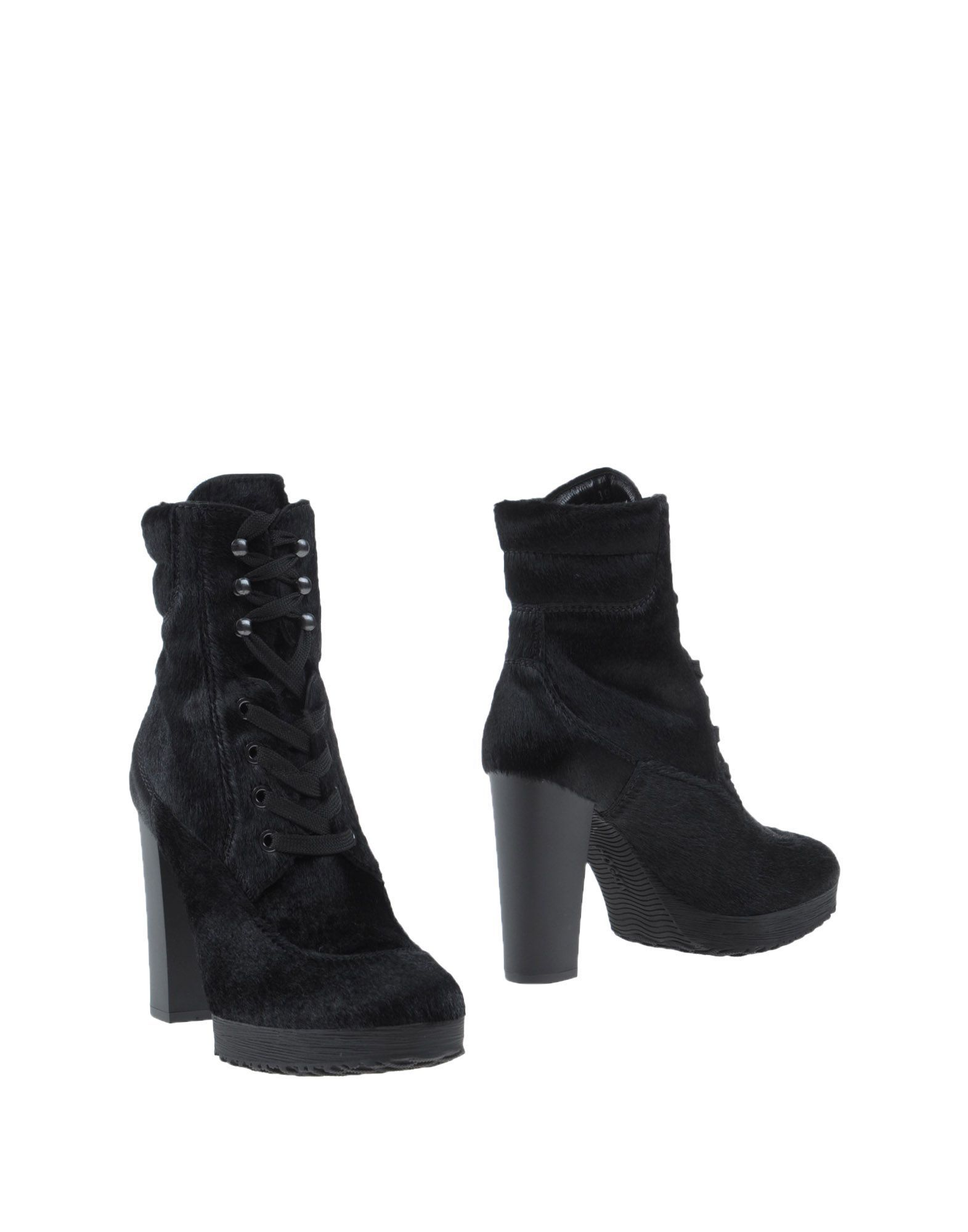 Hogan Black Leather Lace Up Ankle Boots