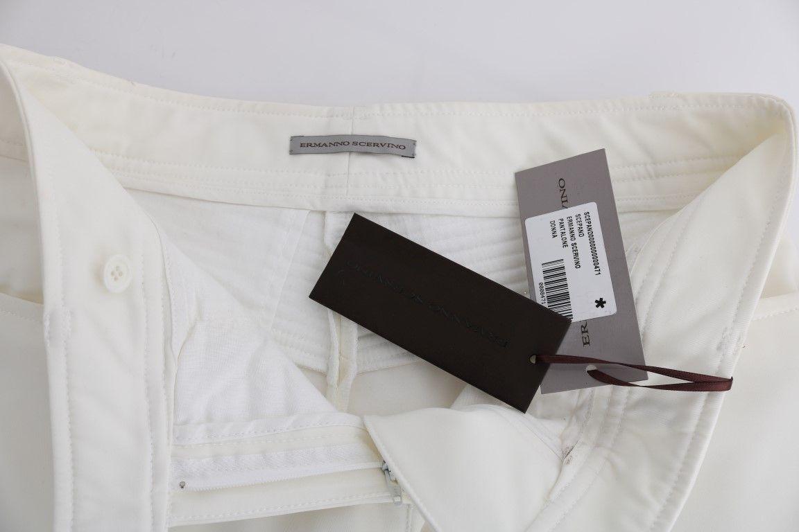 Ermanno Scervino White Cotton Slim Fit Casual Pants
