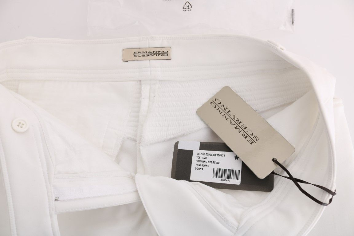 Ermanno Scervino White Cotton Slim Fit Casual Pants
