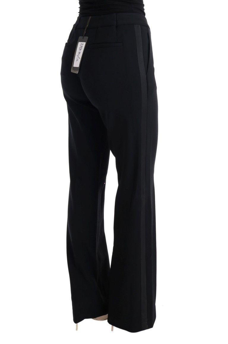 Ermanno Scervino Black Viscose Flare Bootcut Pants