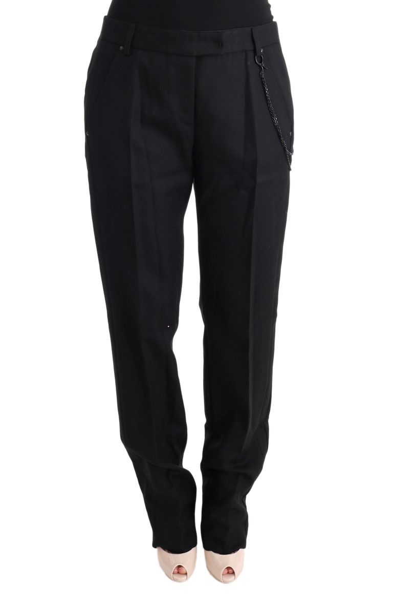 Ermanno Scervino Black Wool Regular Fit Pants